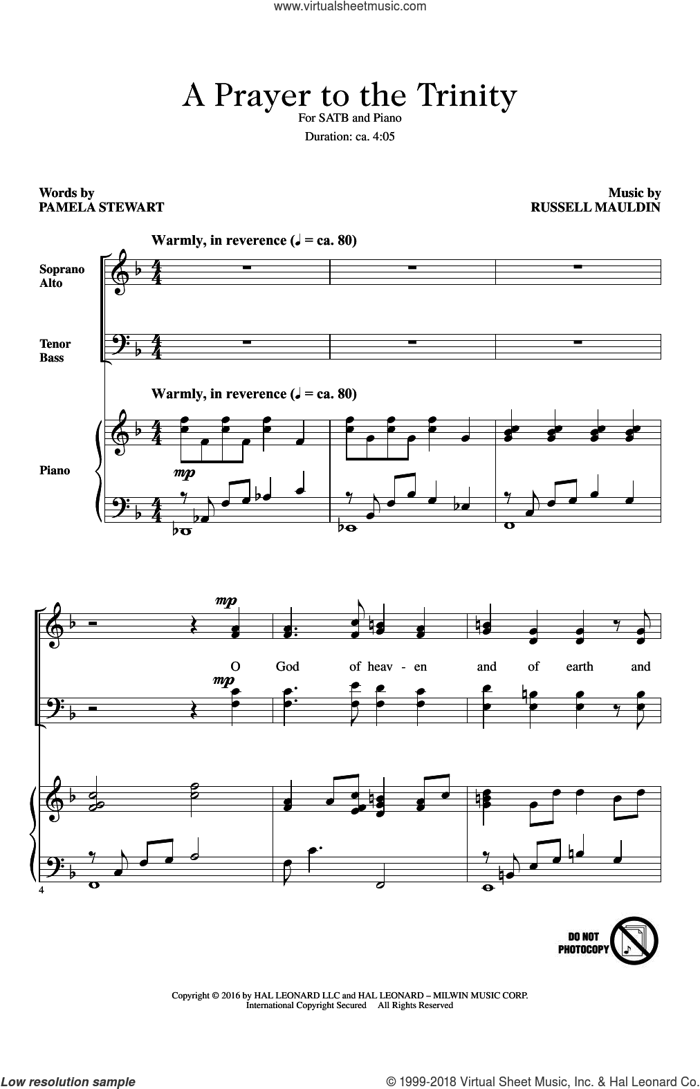 A Prayer To The Trinity sheet music for choir (SATB: soprano, alto, tenor, bass) by Russell Mauldin and Pamela Stewart, intermediate skill level