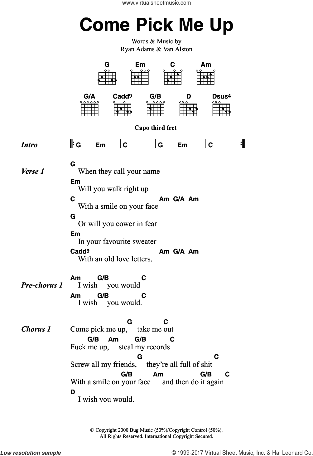 Adams Come Pick Me Up Sheet Music For Guitar Chords Pdf