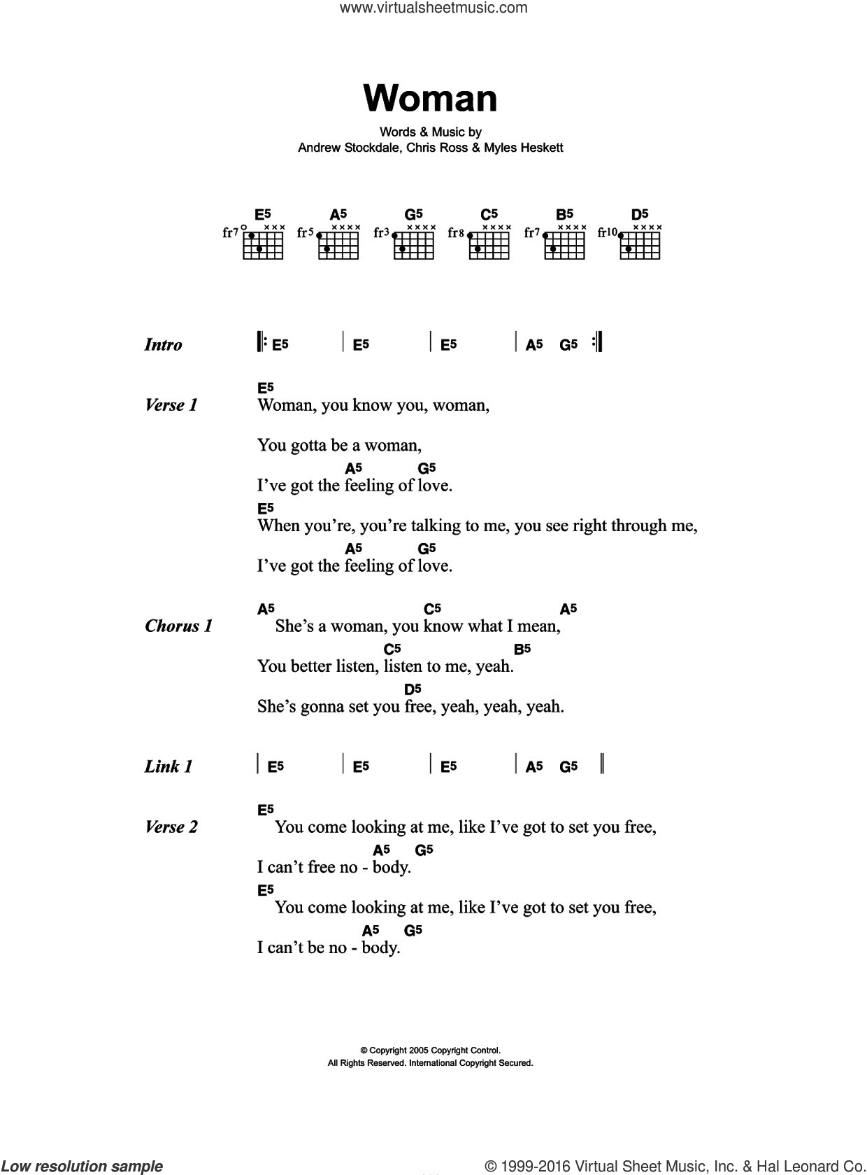 Woman sheet music for guitar (chords) by Wolfmother, Andrew Stockdale, Chris Ross and Myles Heskett, intermediate. Score Image Preview.
