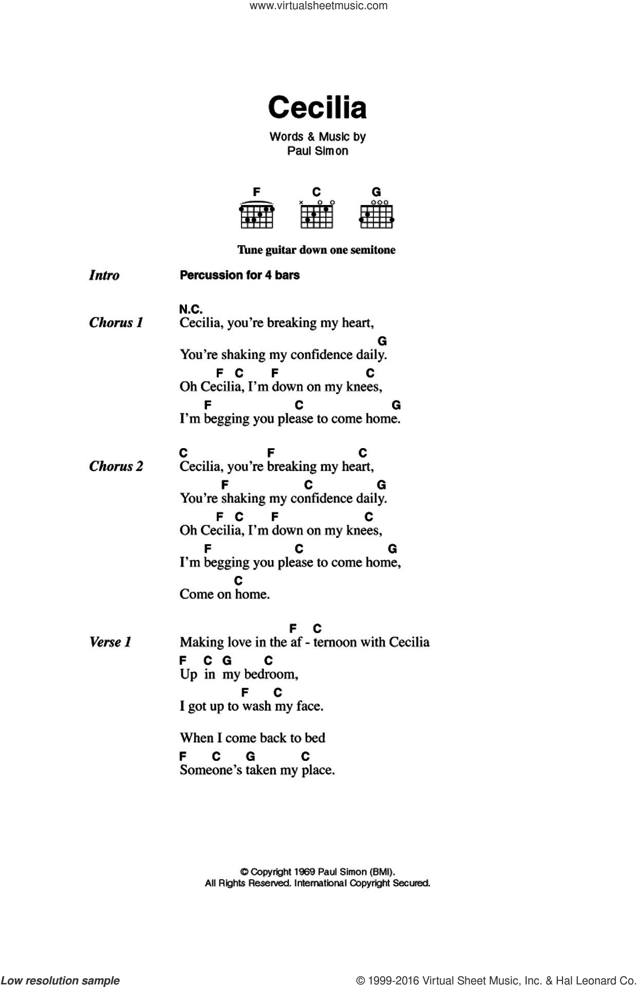Cecilia sheet music for guitar (chords) by Simon & Garfunkel and Paul Simon. Score Image Preview.
