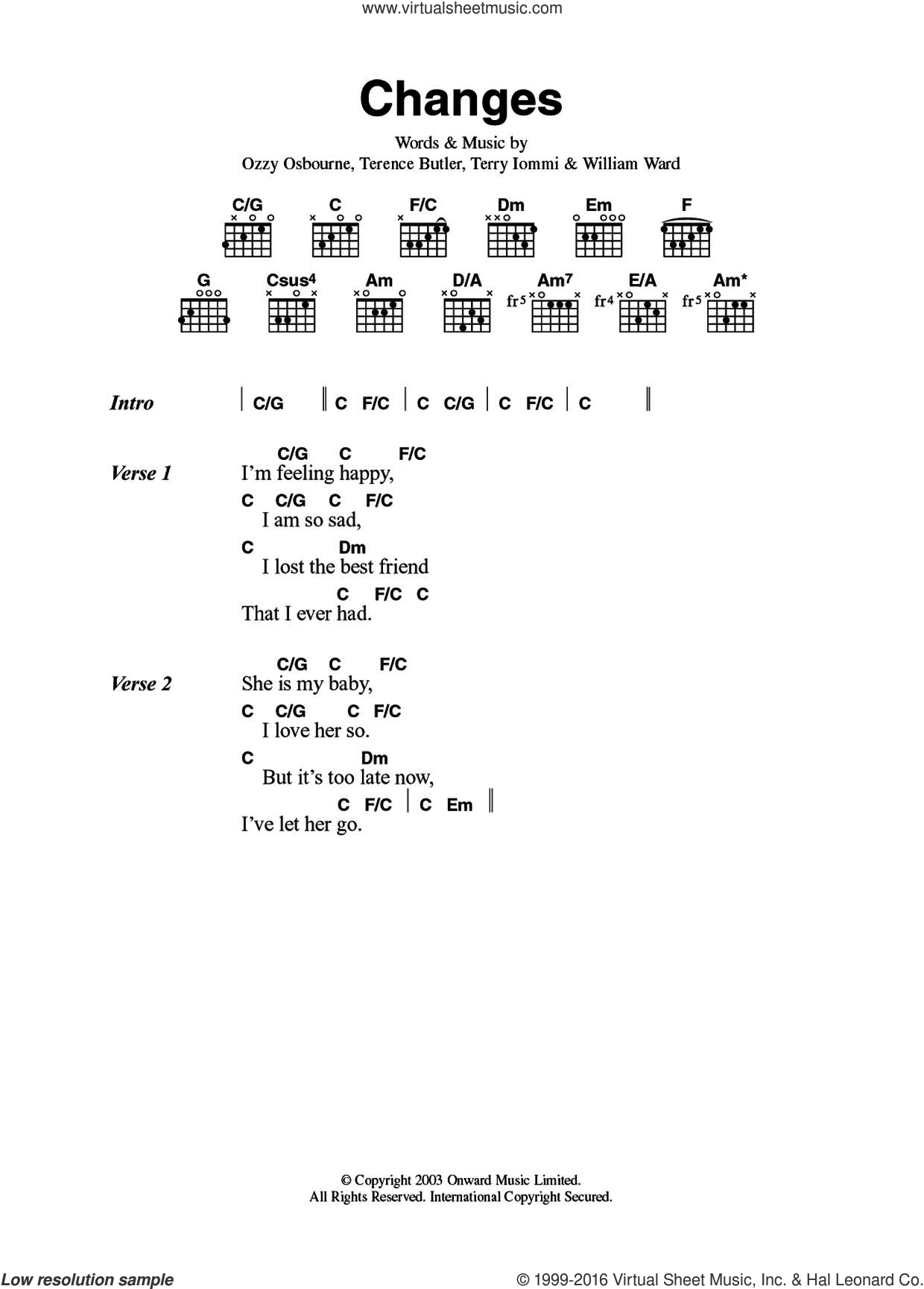 Osbourne Changes Sheet Music For Guitar Chords Pdf