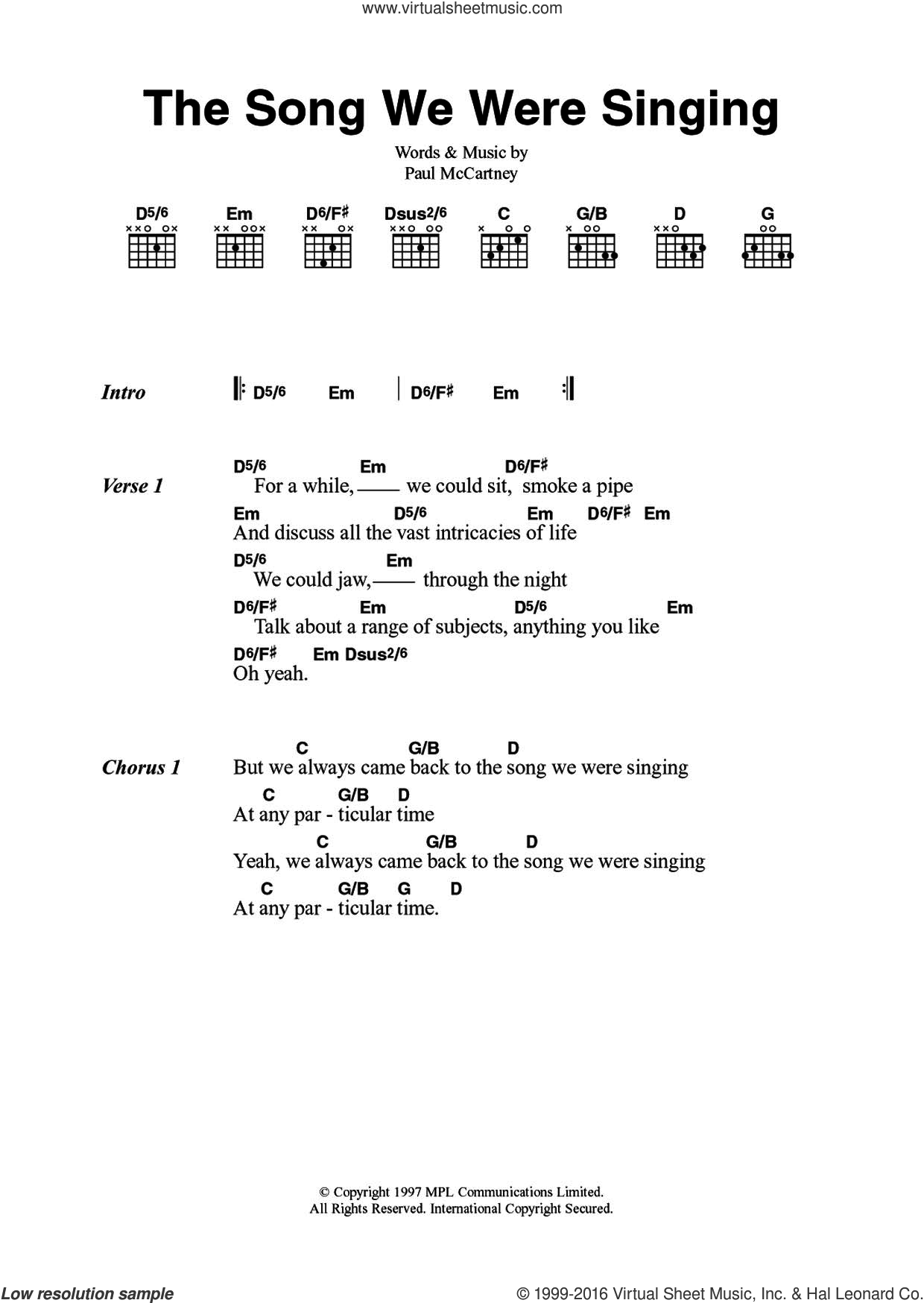 The Song We Were Singing sheet music for guitar (chords) by Paul McCartney. Score Image Preview.