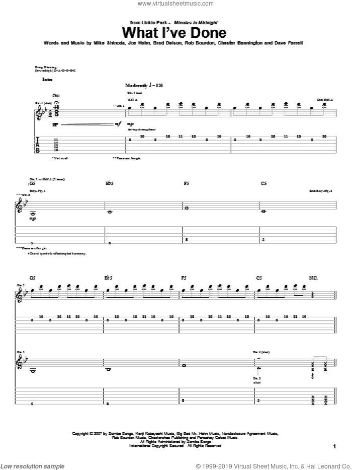 What I've Done sheet music for guitar (tablature) by Rob Bourdon, Linkin Park, Brad Delson and Mike Shinoda. Score Image Preview.
