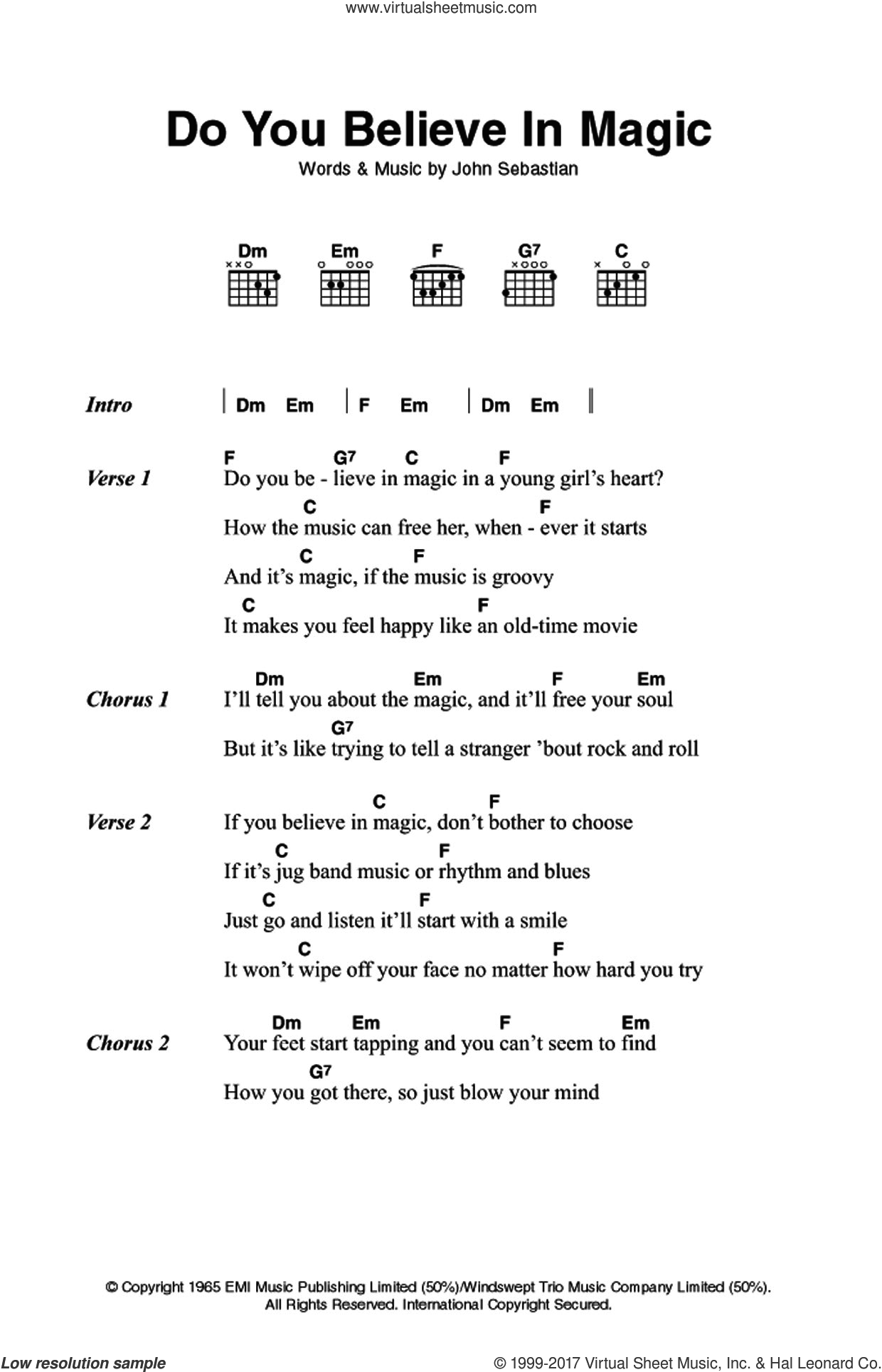 Spoonful Do You Believe In Magic Sheet Music For Guitar Chords