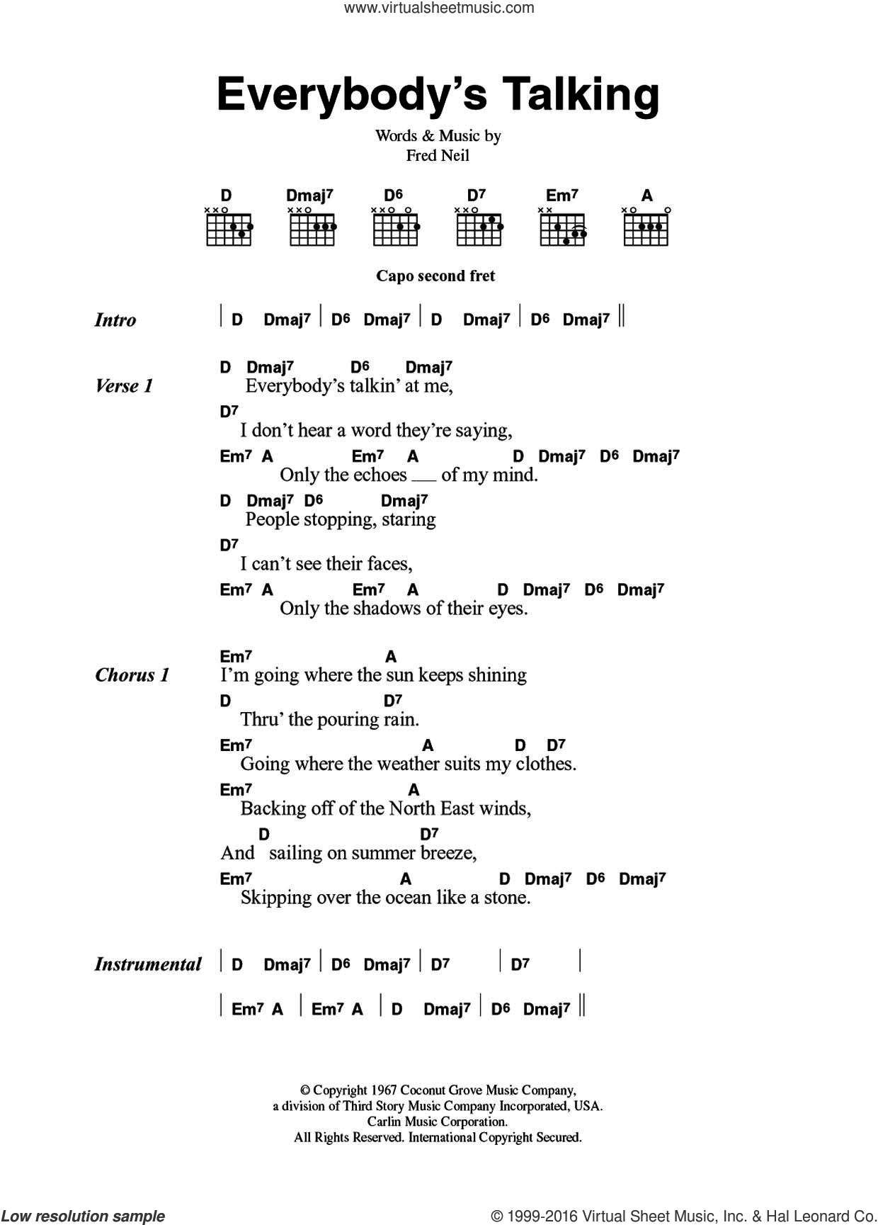 Everybody's Talkin' sheet music for guitar (chords) by Nilsson, The Beautiful South and Fred Neil, intermediate skill level