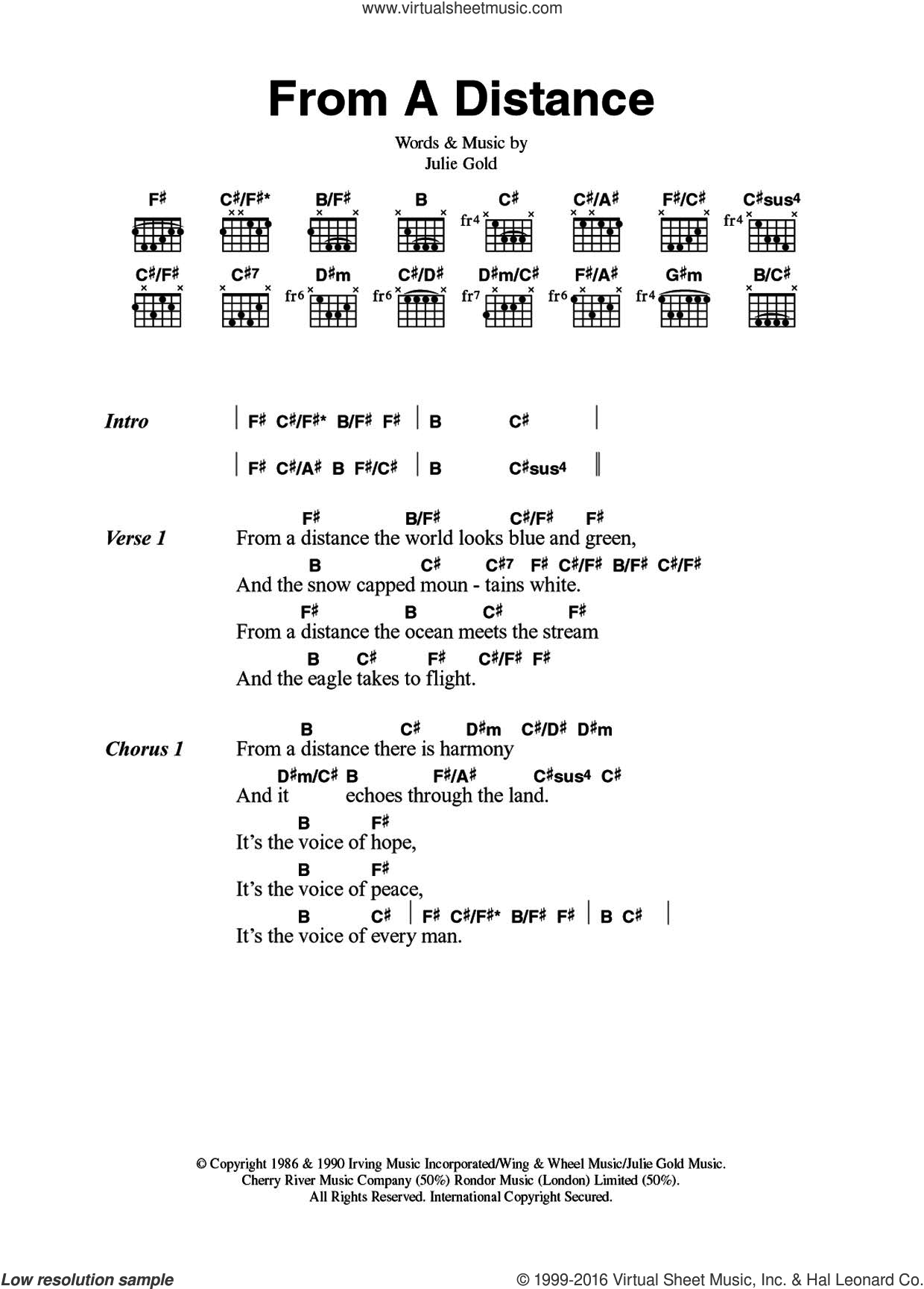 From A Distance sheet music for guitar (chords) by Nanci Griffith, Bette Midler and Julie Gold, intermediate. Score Image Preview.