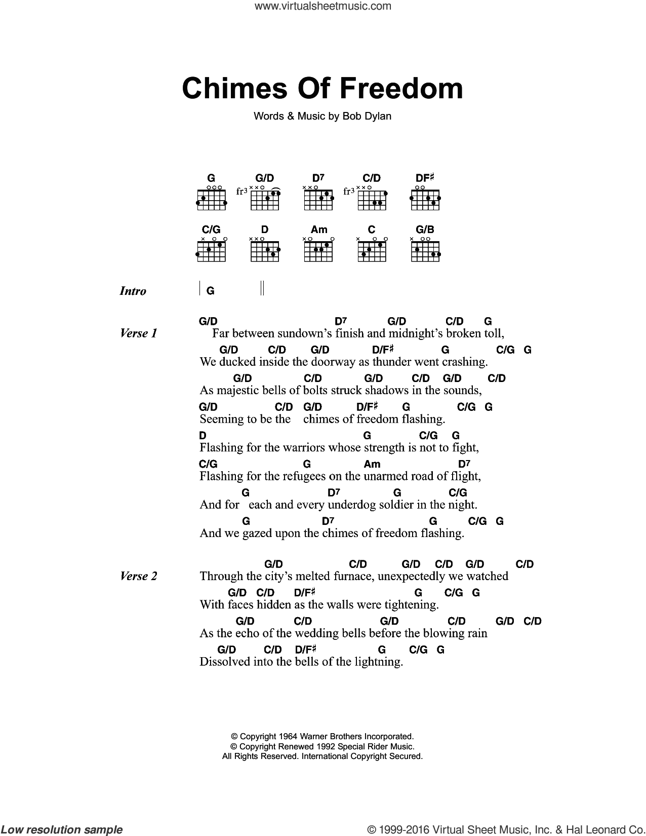 Chimes Of Freedom sheet music for guitar (chords) by Bob Dylan, intermediate skill level