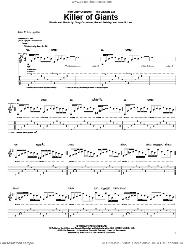 Killer Of Giants sheet music for guitar (tablature) by Bob Daisley, Ozzy Osbourne and Randy Castillo. Score Image Preview.