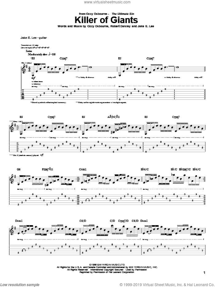 Killer Of Giants sheet music for guitar (tablature) by Ozzy Osbourne, Bob Daisley, J. Sinclair, Jake E. Lee and Randy Castillo, intermediate skill level