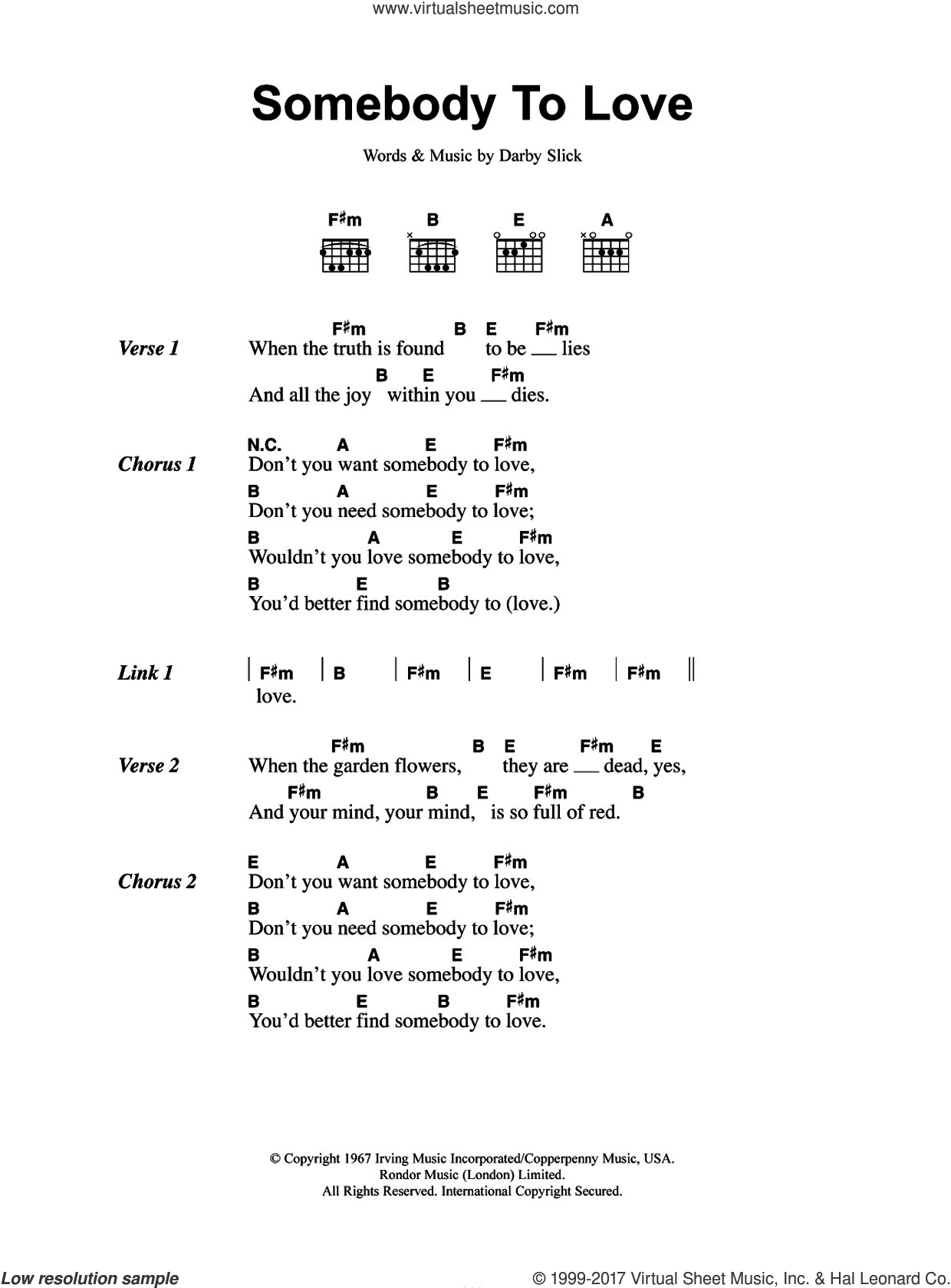 Somebody To Love sheet music for guitar (chords) by Jefferson Airplane and Darby Slick, intermediate skill level