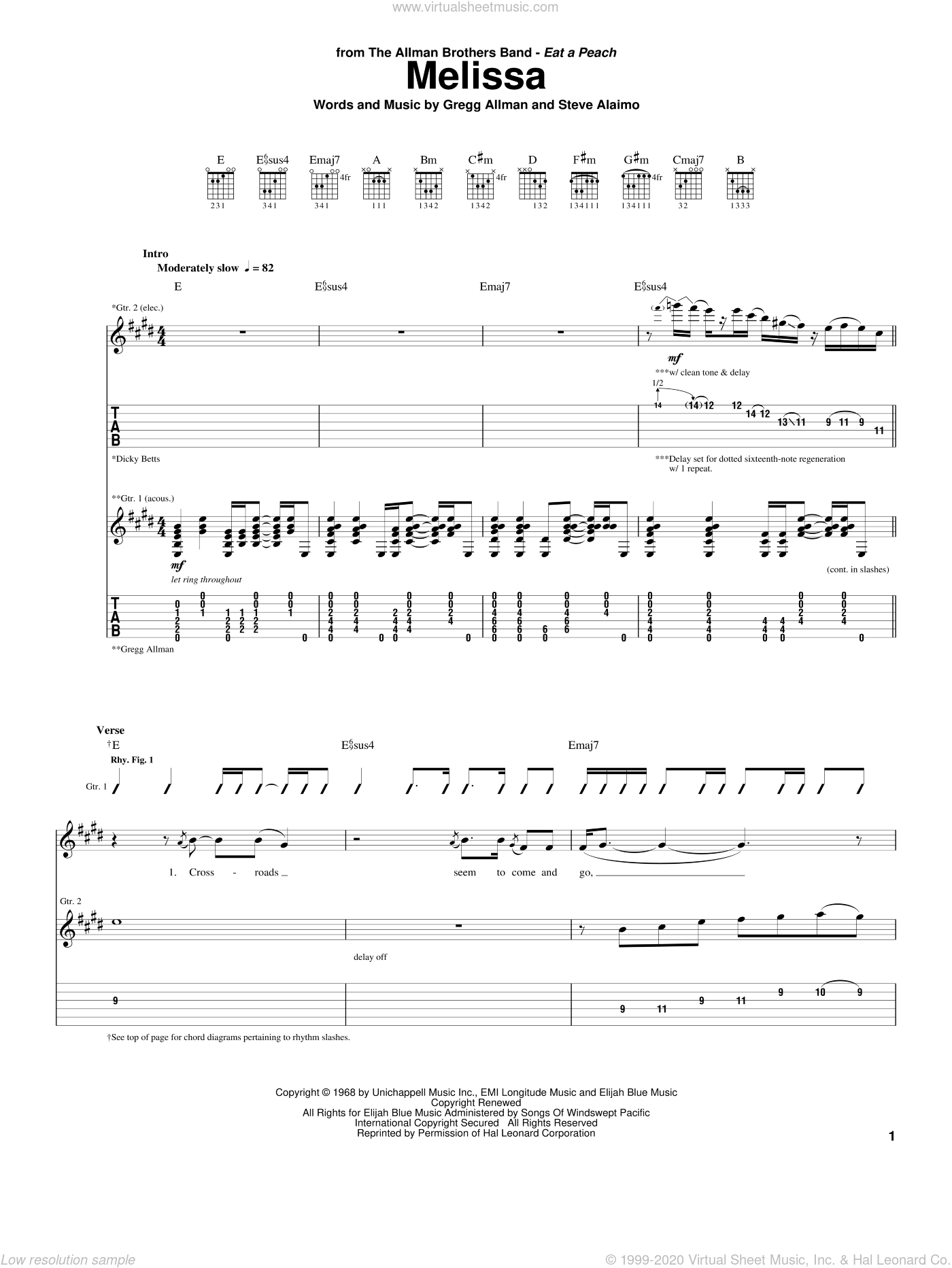 Melissa sheet music for guitar (tablature) by Allman Brothers Band, The Allman Brothers Band, Gregg Allman and Steve Alaimo, intermediate guitar (tablature). Score Image Preview.
