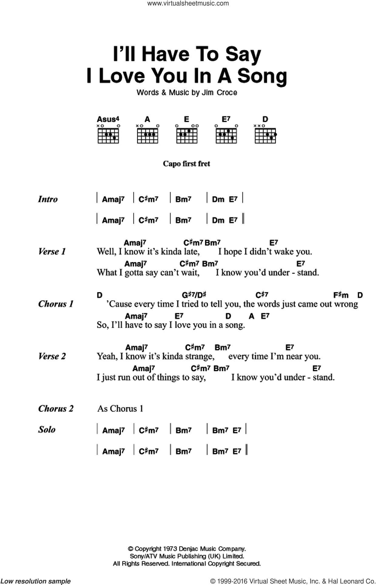 I'll Have To Say I Love You In A Song sheet music for guitar (chords) by Jim Croce, intermediate skill level