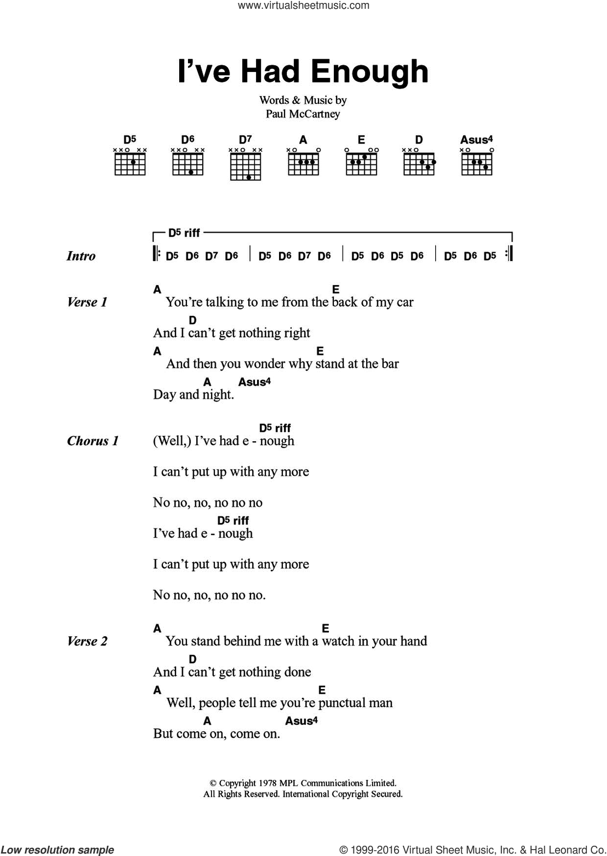 I've Had Enough sheet music for guitar (chords) by Wings and Paul McCartney, intermediate skill level