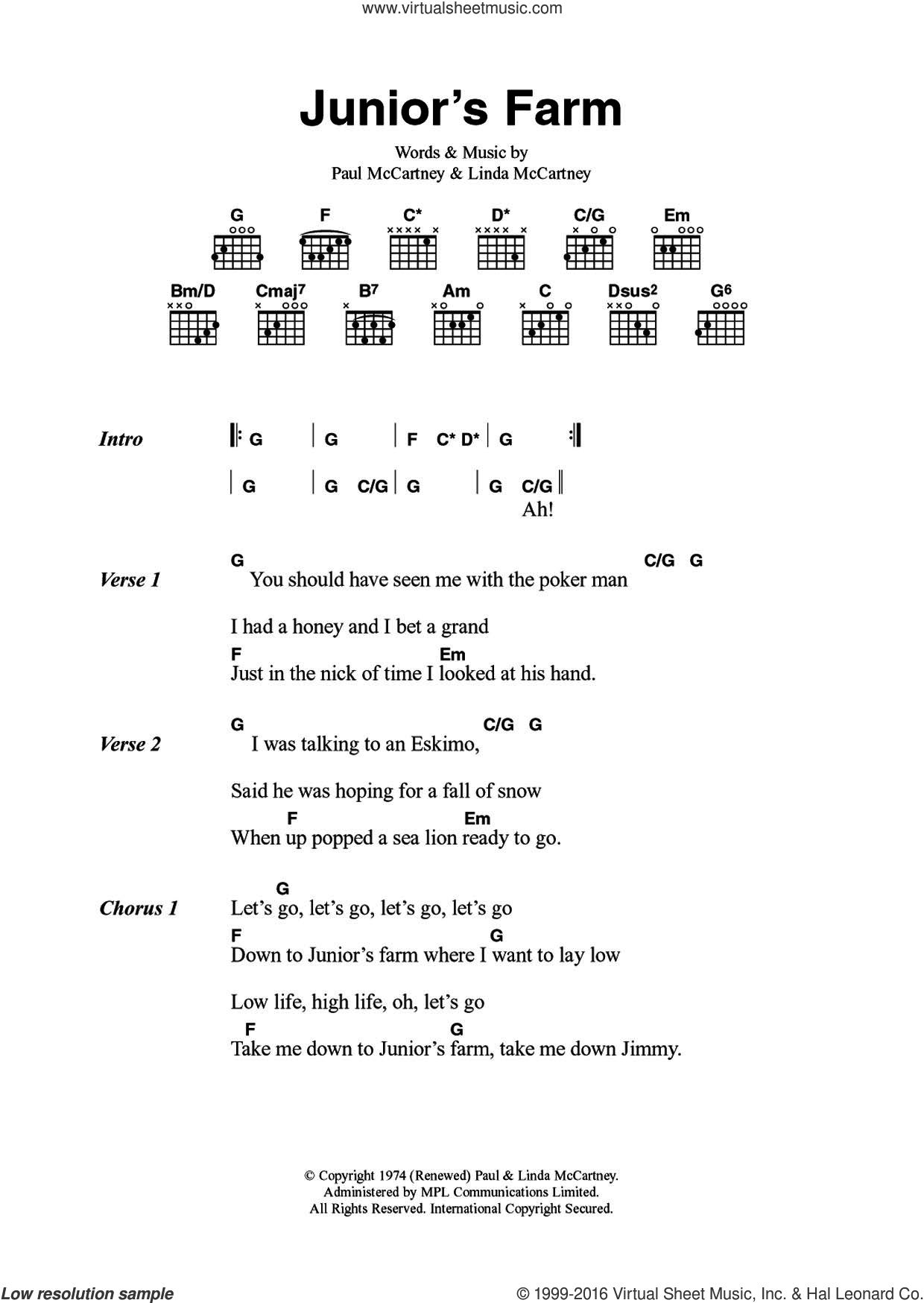 Junior's Farm sheet music for guitar (chords) by Linda McCartney, Paul McCartney and Wings. Score Image Preview.