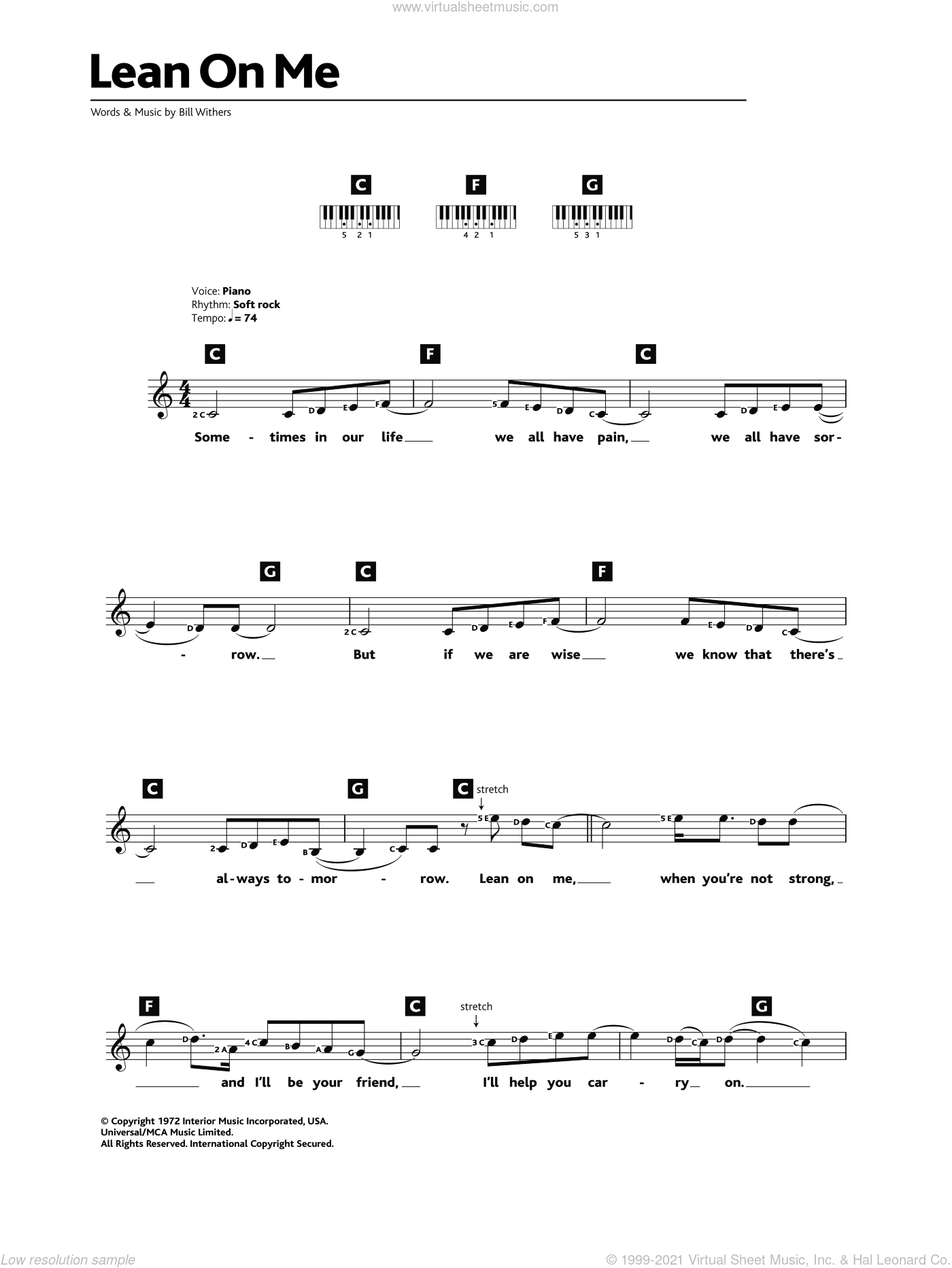 Lean On Me sheet music for piano solo (chords, lyrics, melody) by Bill Withers. Score Image Preview.