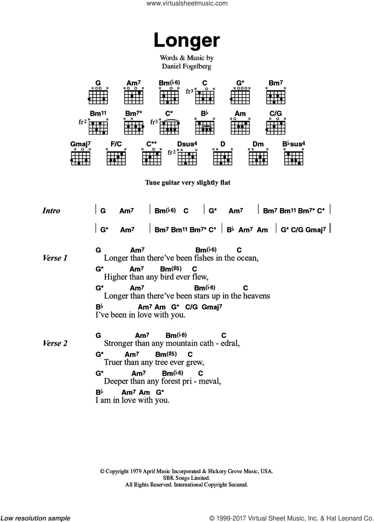 Longer sheet music for guitar (chords) by Dan Fogelberg, intermediate skill level