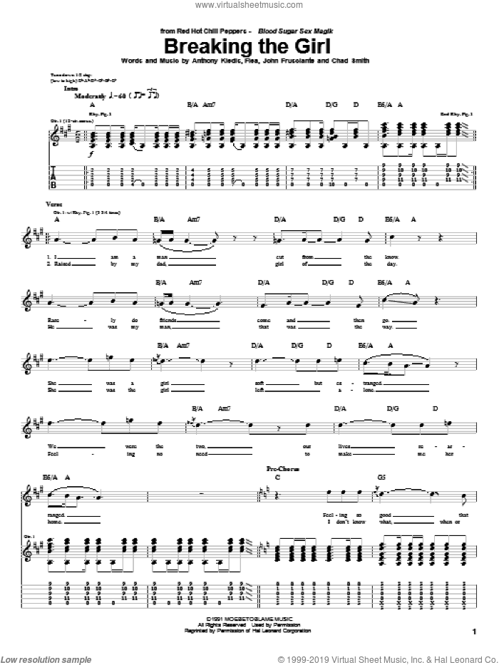 Breaking The Girl sheet music for guitar (tablature) by John Frusciante, Red Hot Chili Peppers and Flea. Score Image Preview.