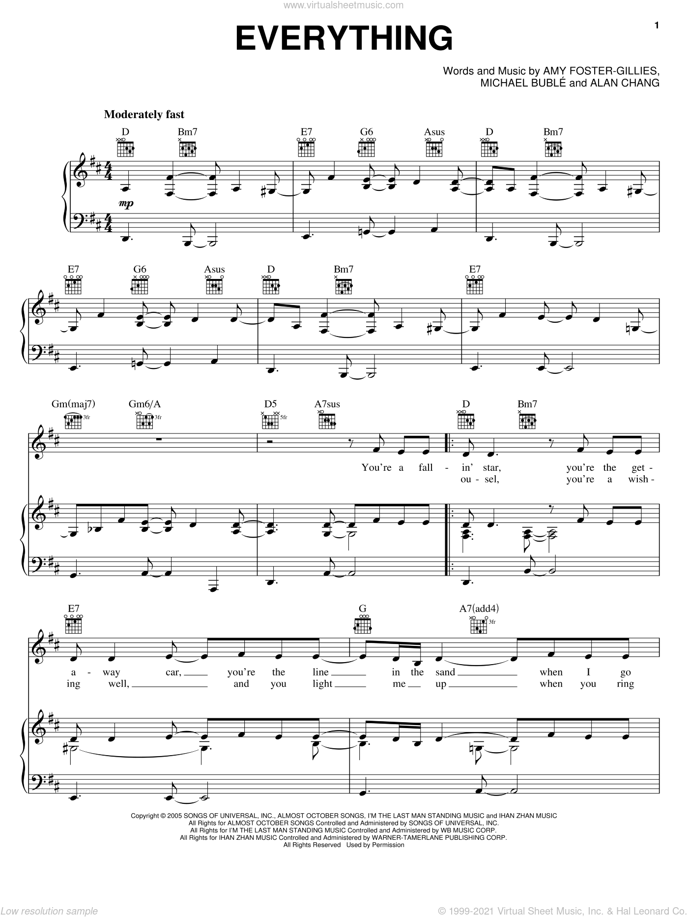 Everything sheet music for voice, piano or guitar by Michael Buble, Alan Chang and Amy Foster-Gillies, intermediate skill level