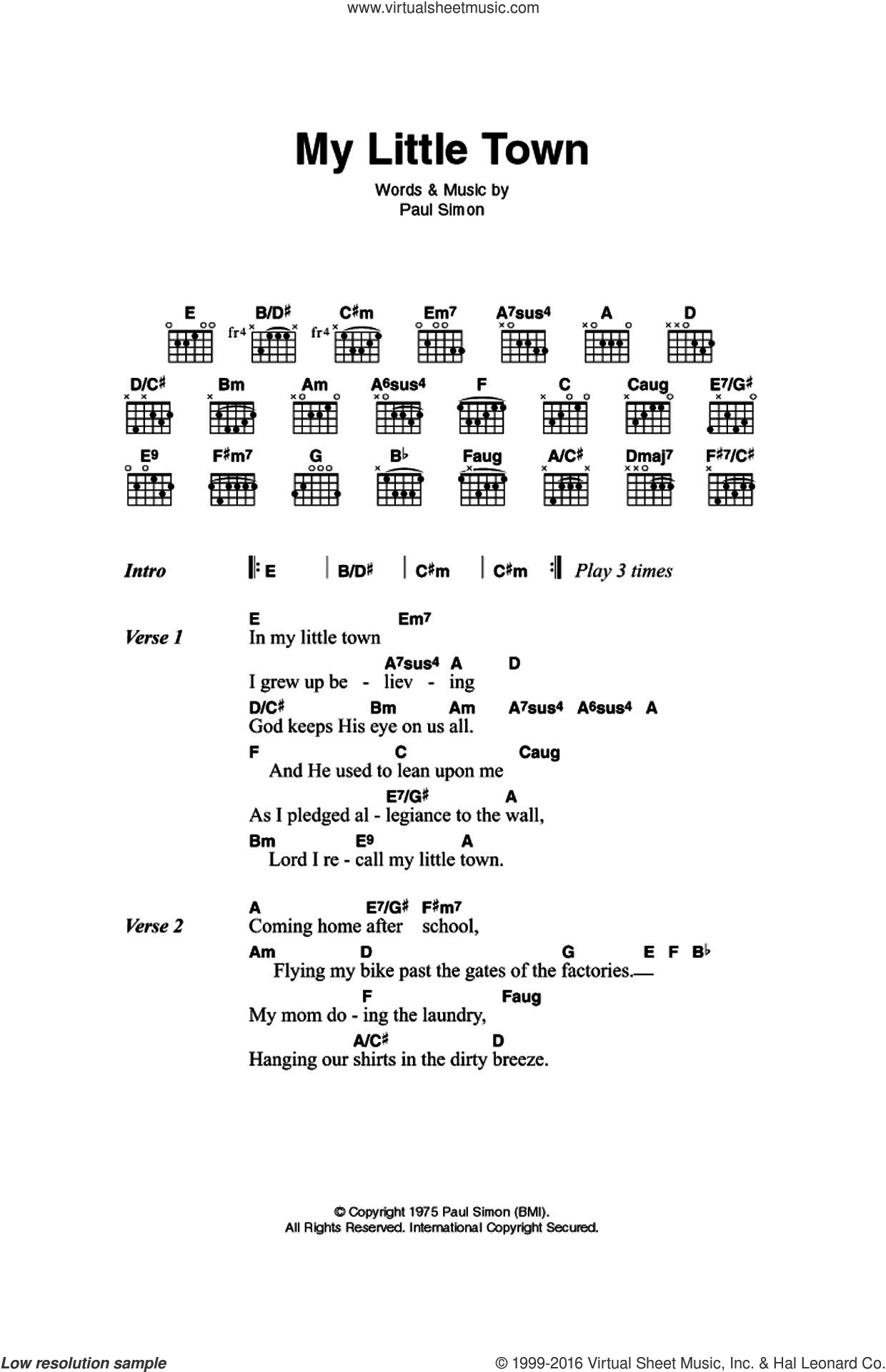 My Little Town sheet music for guitar (chords) by Simon & Garfunkel and Paul Simon. Score Image Preview.