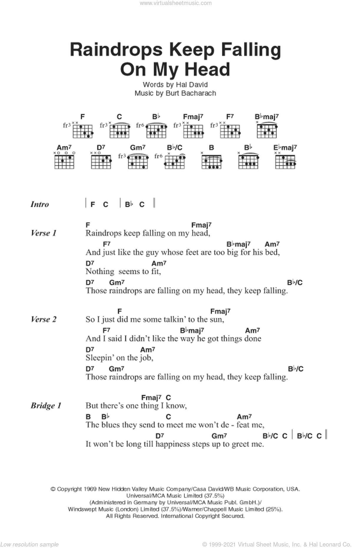 Raindrops Keep Falling On My Head sheet music for guitar (chords) by Burt Bacharach, Bacharach & David and Hal David, intermediate skill level