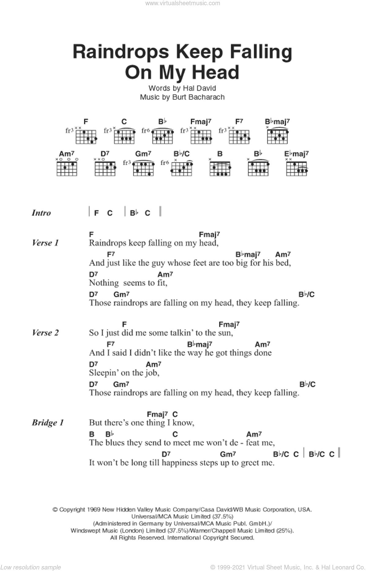 Raindrops Keep Falling On My Head sheet music for guitar (chords) by Burt Bacharach, Bacharach & David and Hal David, intermediate skill level