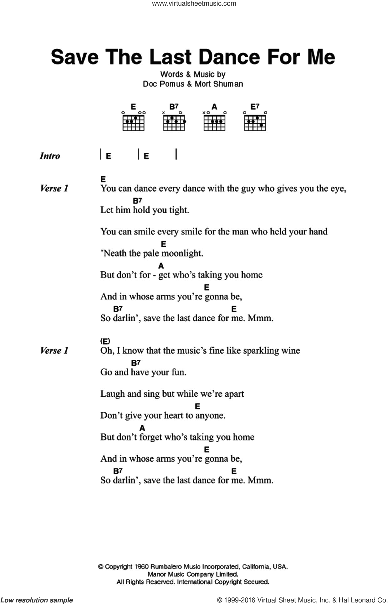 Save The Last Dance For Me sheet music for guitar (chords) by The Drifters, Doc Pomus and Mort Shuman, intermediate skill level