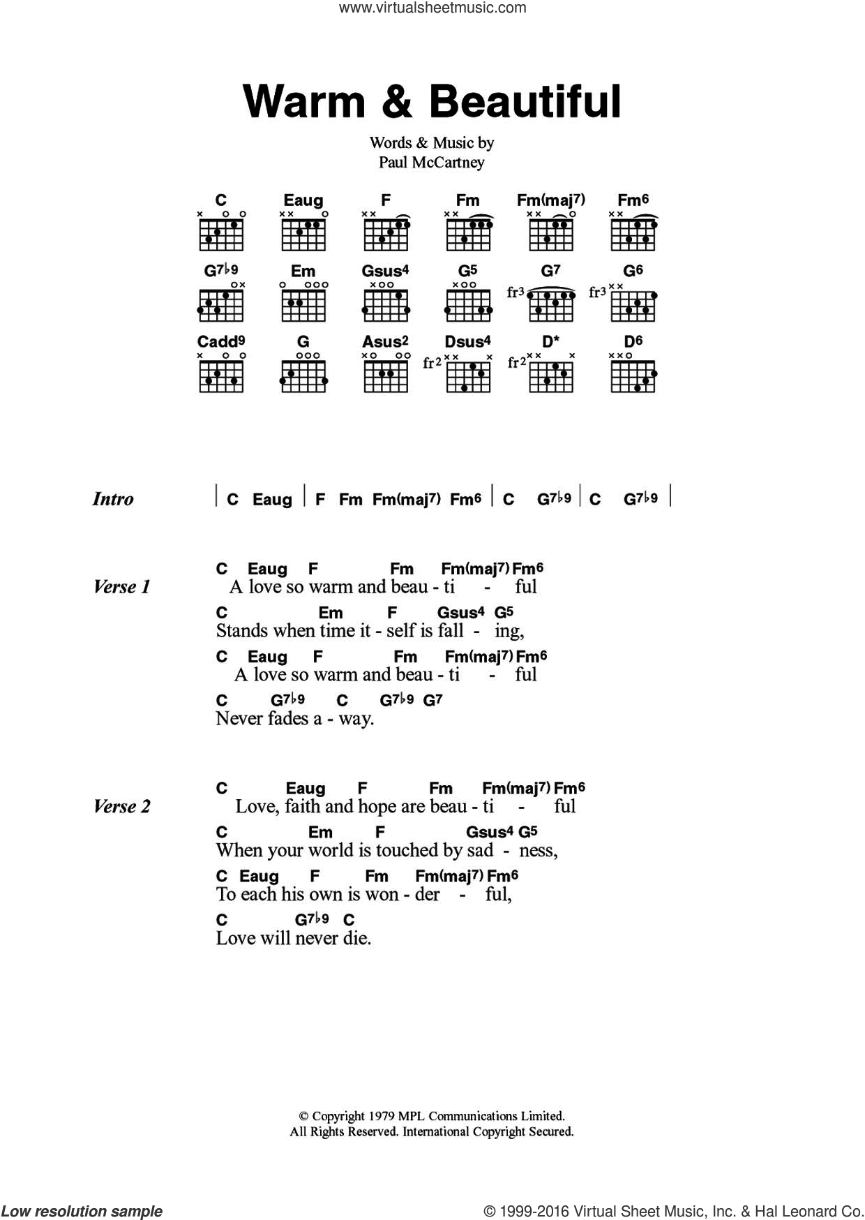 Warm and Beautiful sheet music for guitar (chords) by Wings and Paul McCartney. Score Image Preview.