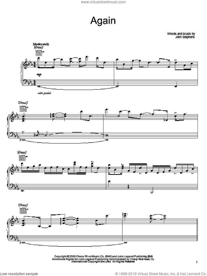Again sheet music for voice, piano or guitar by John Legend and John Stephens, intermediate skill level