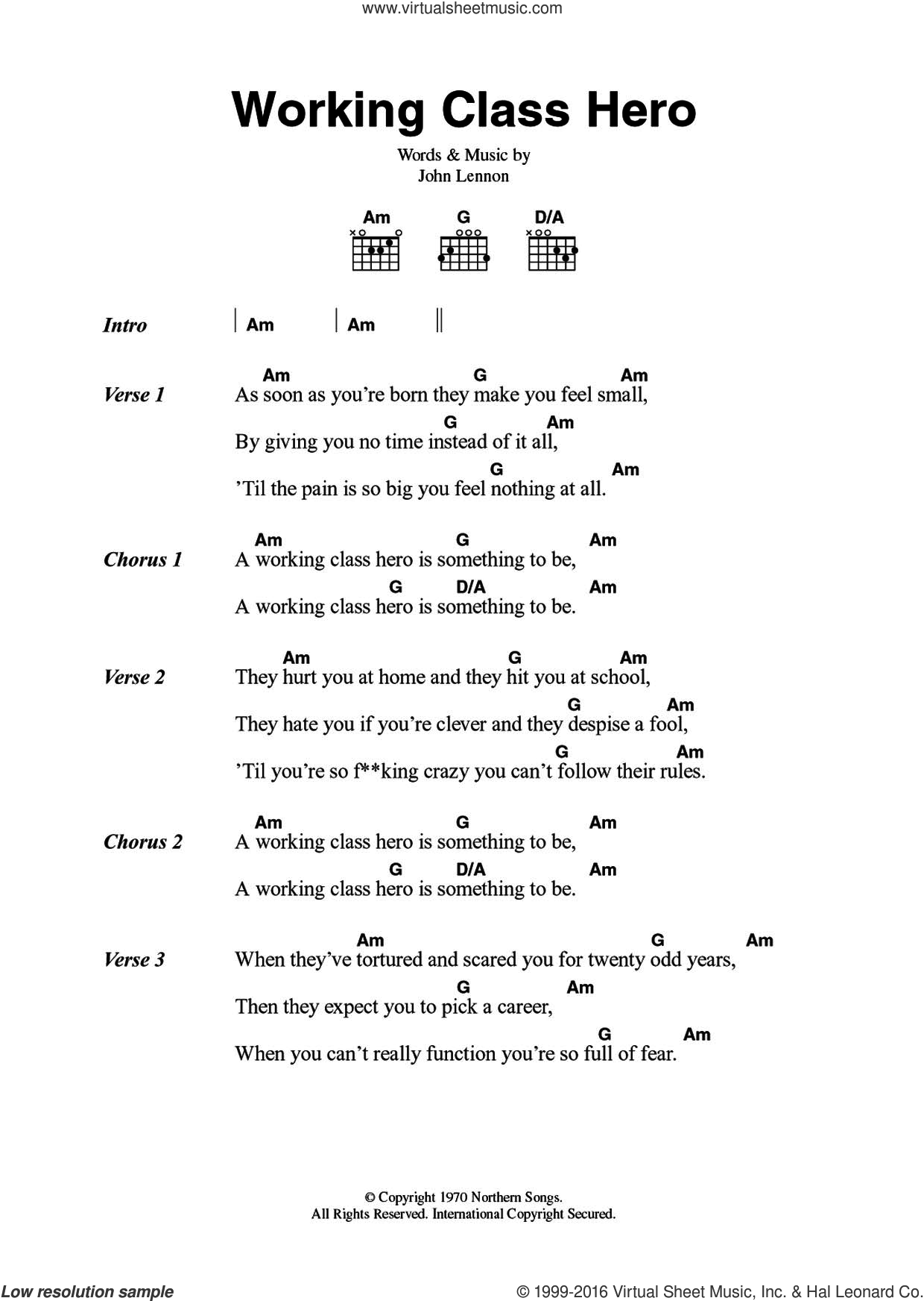 Working Class Hero sheet music for guitar (chords) by John Lennon, intermediate skill level