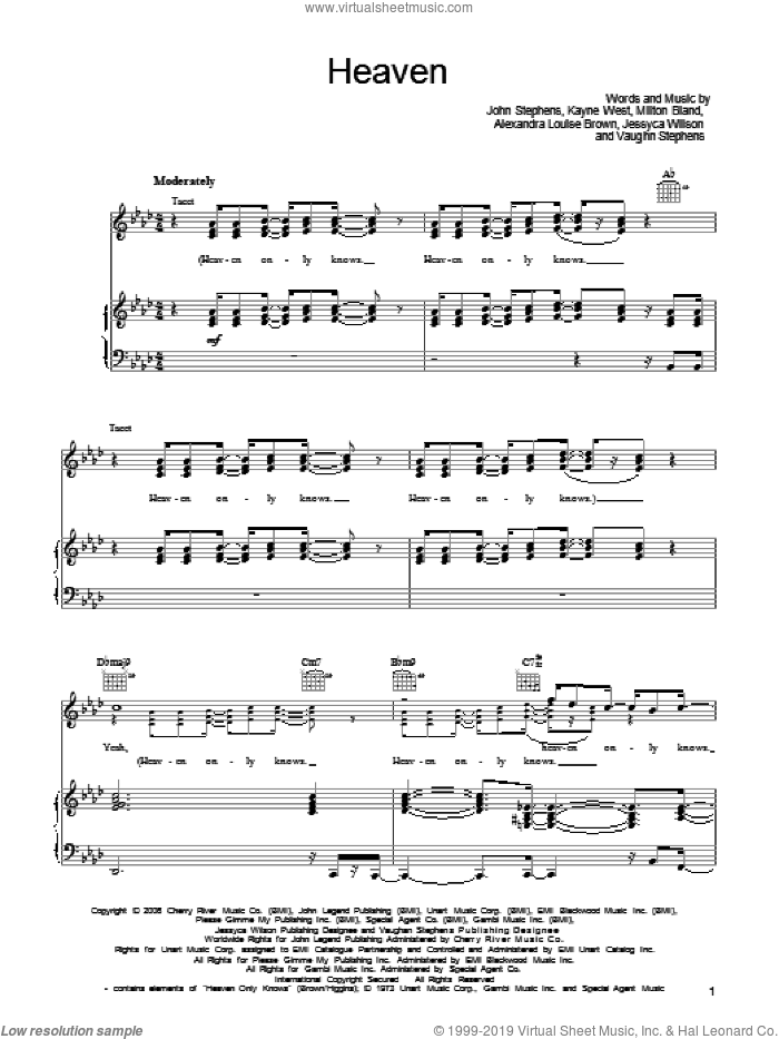 Heaven sheet music for voice, piano or guitar by John Legend, Alexandra Louise Brown, Jessyca Wilson, John Stephens, Kanye West, Milton Bland and Vaughn Stephens, intermediate skill level