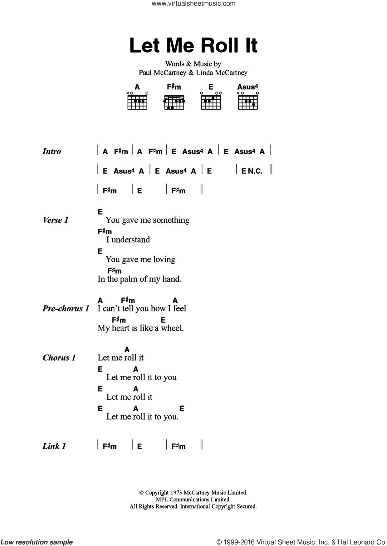 Wings Let Me Roll It Sheet Music For Guitar Chords Pdf