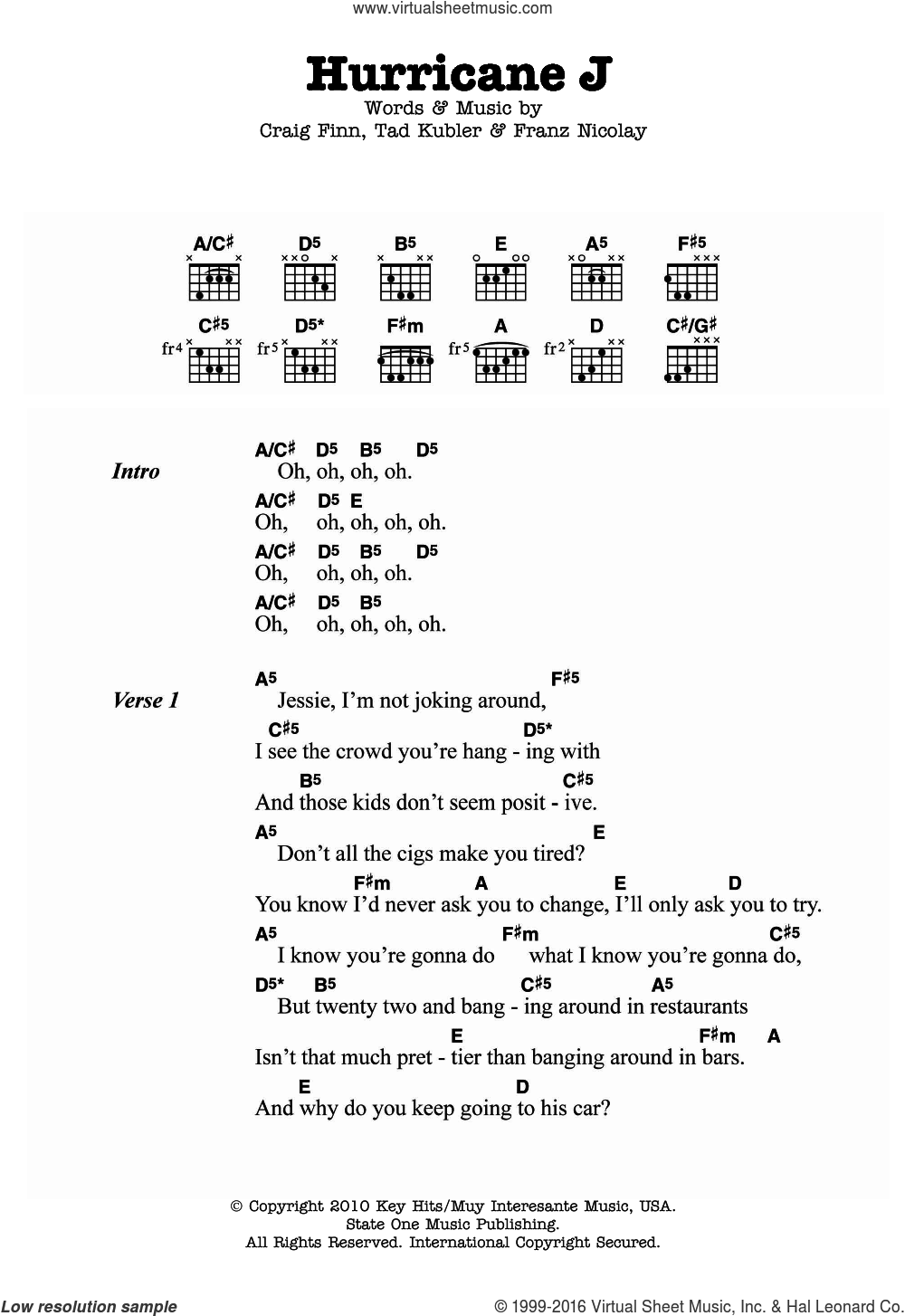 Hurricane J sheet music for guitar (chords) by Tad Kubler, The Hold Steady, Craig Finn and Franz Nicolay. Score Image Preview.