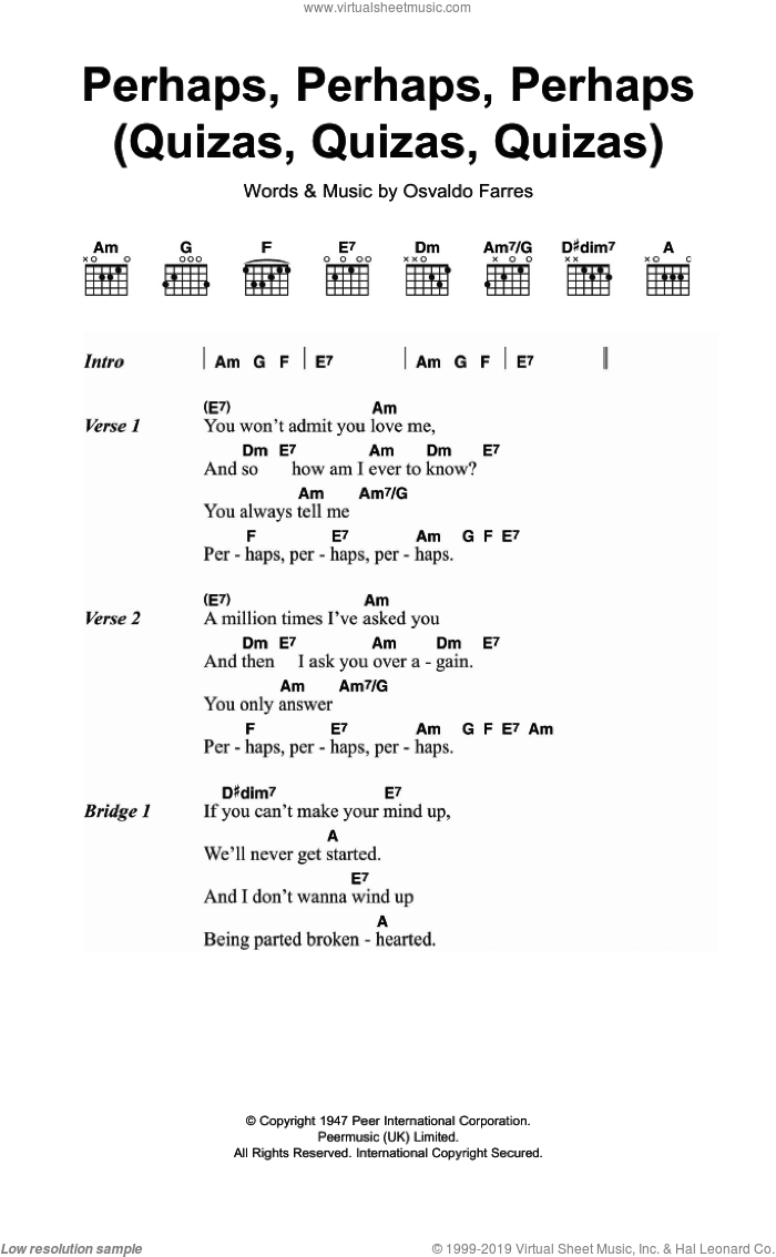 Perhaps, Perhaps, Perhaps (Quizas, Quizas, Quizas) sheet music for guitar (chords) by Osvaldo Farres. Score Image Preview.