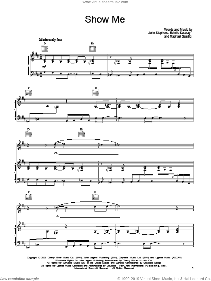 Show Me sheet music for voice, piano or guitar by John Legend, Estelle Swaray, John Stephens and Raphael Saadiq, intermediate. Score Image Preview.