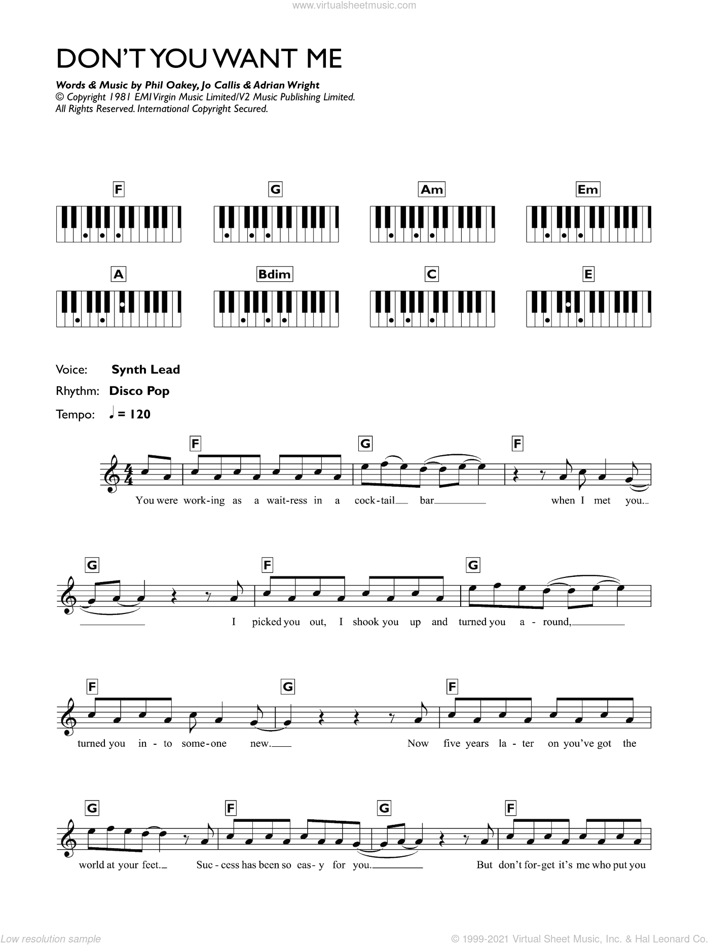 Don't You Want Me sheet music for piano solo (chords, lyrics, melody) by The Human League, Adrian Wright, Jo Callis and Phil Oakey, intermediate piano (chords, lyrics, melody)