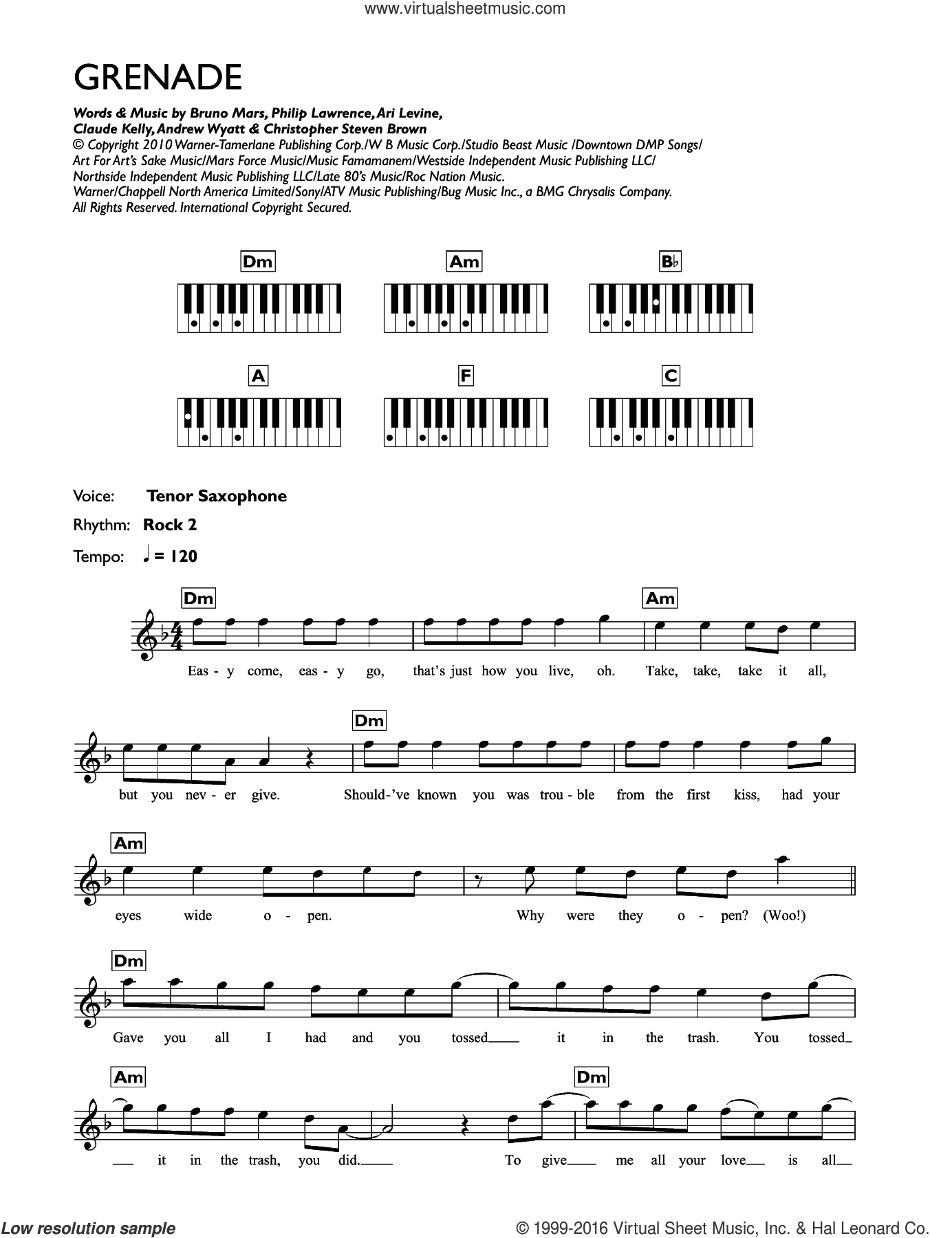 Grenade sheet music for piano solo (chords, lyrics, melody) by Philip Lawrence, Andrew Wyatt, Ari Levine, Bruno Mars and Claude Kelly. Score Image Preview.