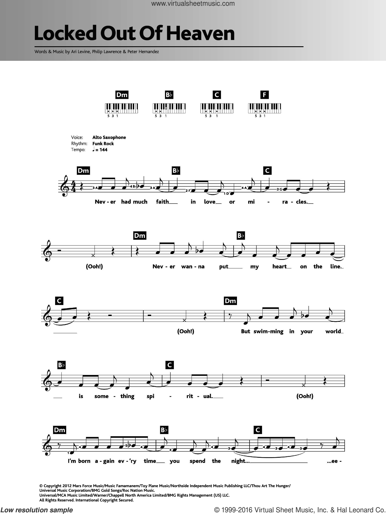 Locked Out Of Heaven sheet music for piano solo (chords, lyrics, melody) by Bruno Mars, Ari Levine, Peter Hernandez and Philip Lawrence. Score Image Preview.