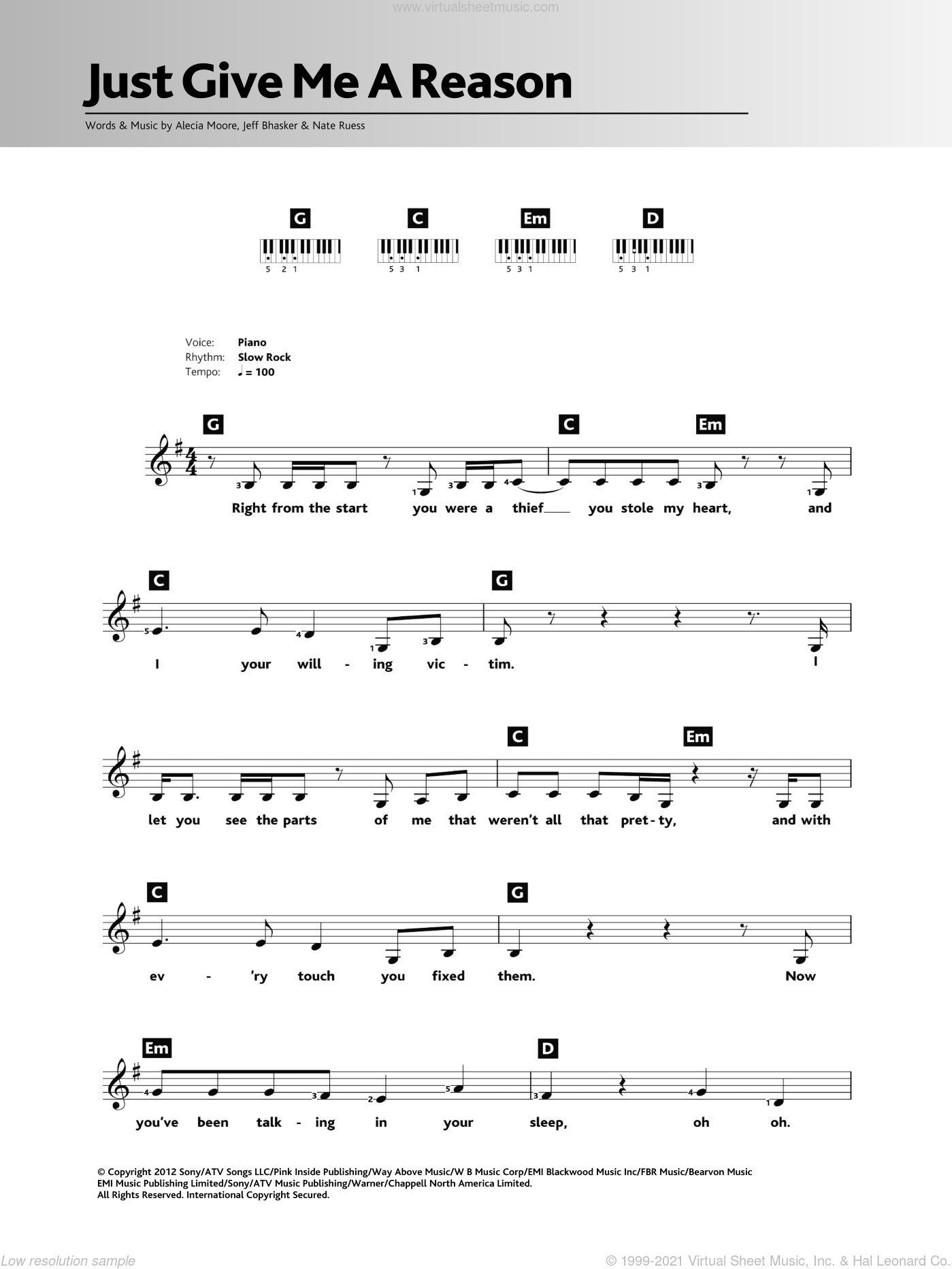 Just Give Me A Reason (featuring Nate Ruess) sheet music for piano solo (chords, lyrics, melody) by Jeff Bhasker, Miscellaneous, Alecia Moore and Nate Ruess. Score Image Preview.