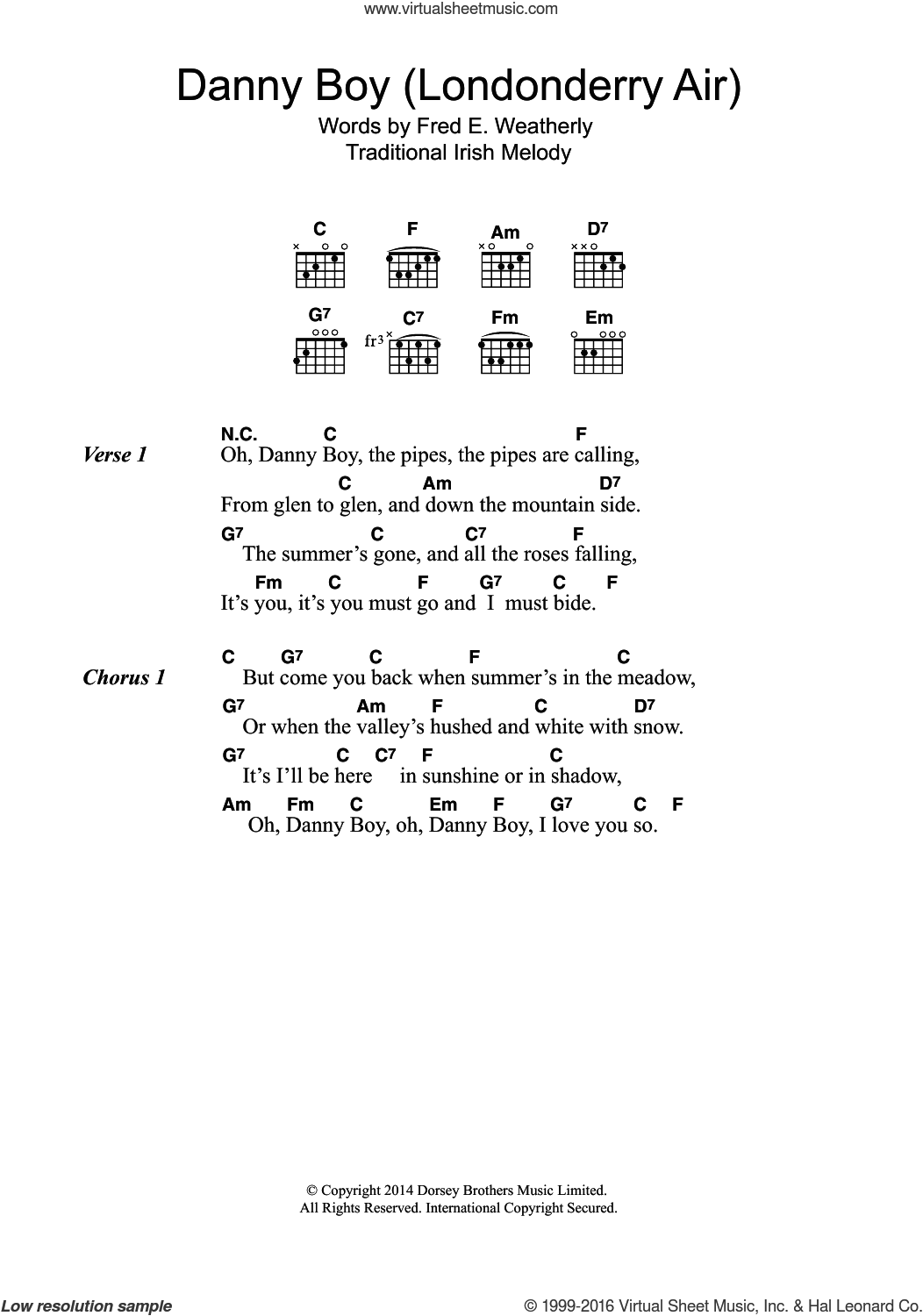 Danny Boy (Londonderry Air) sheet music for guitar (chords)  and Fred E. Weatherly, intermediate skill level