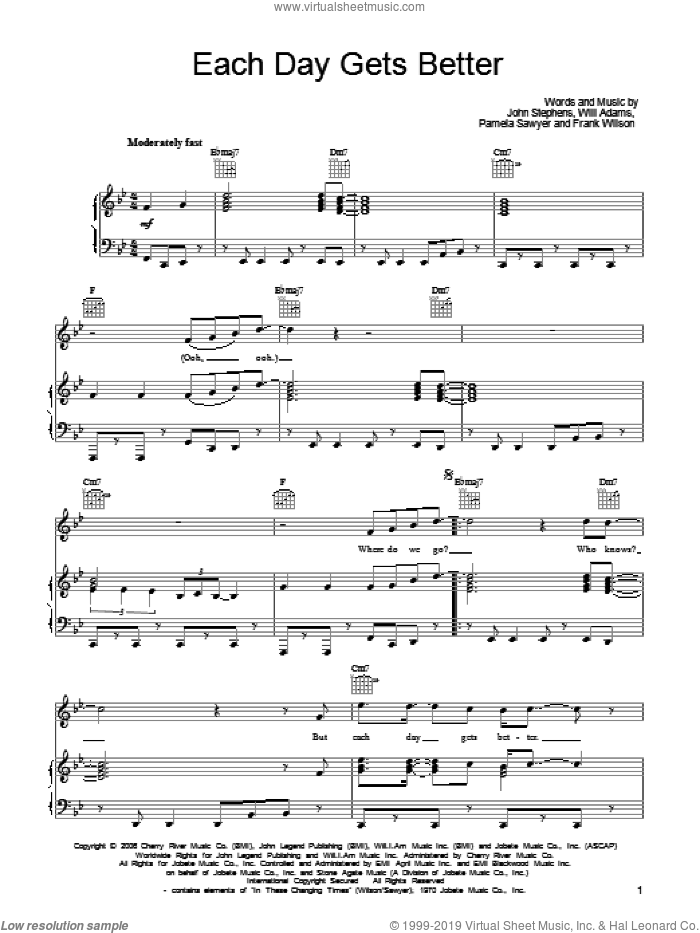 Each Day Gets Better sheet music for voice, piano or guitar by Will Adams, John Legend, John Stephens and Pamela Sawyer. Score Image Preview.