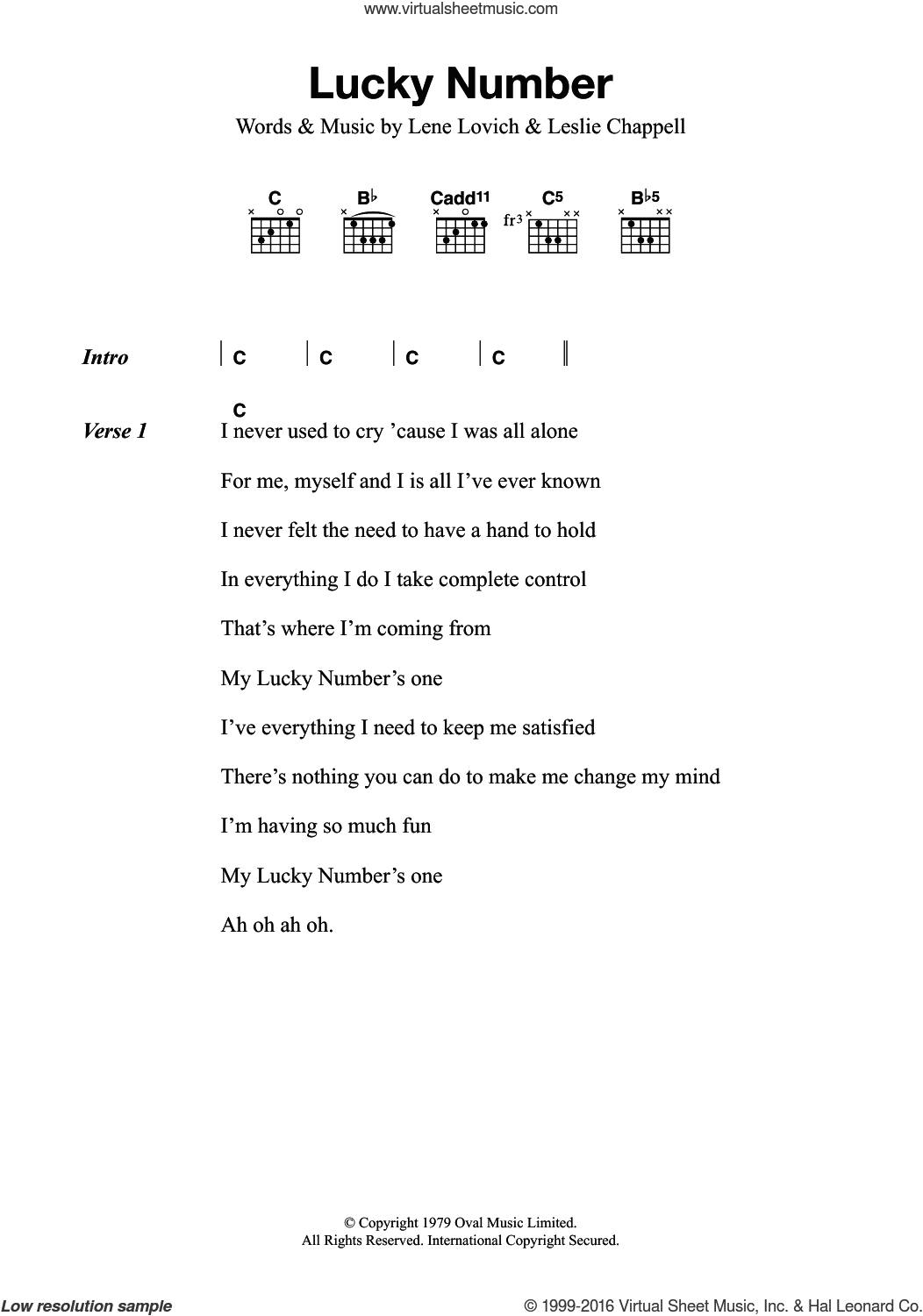 Lucky Number sheet music for guitar (chords) by Lene Lovich and Leslie Chappell, intermediate skill level
