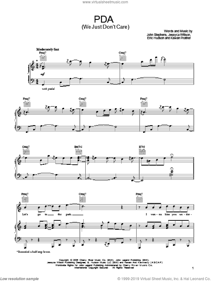 PDA (We Just Don't Care) sheet music for voice, piano or guitar by John Legend, Eric Hudson, Jessyca Wilson, John Stephens and Kawan Prather, intermediate skill level