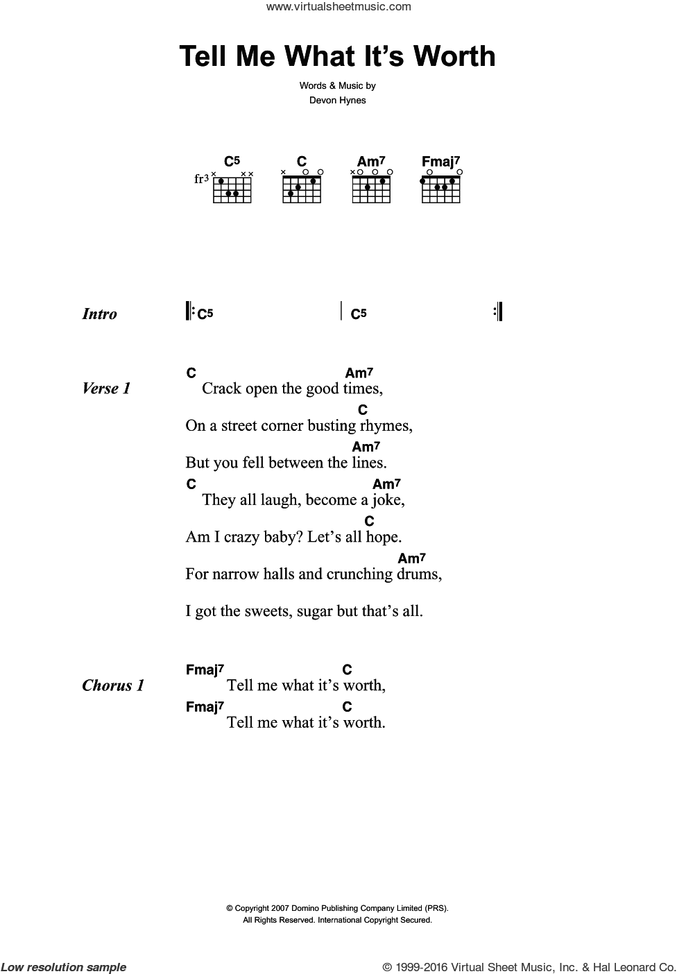 Tell Me What It's Worth sheet music for guitar (chords) by Lightspeed Champion and Devon Hynes, intermediate skill level