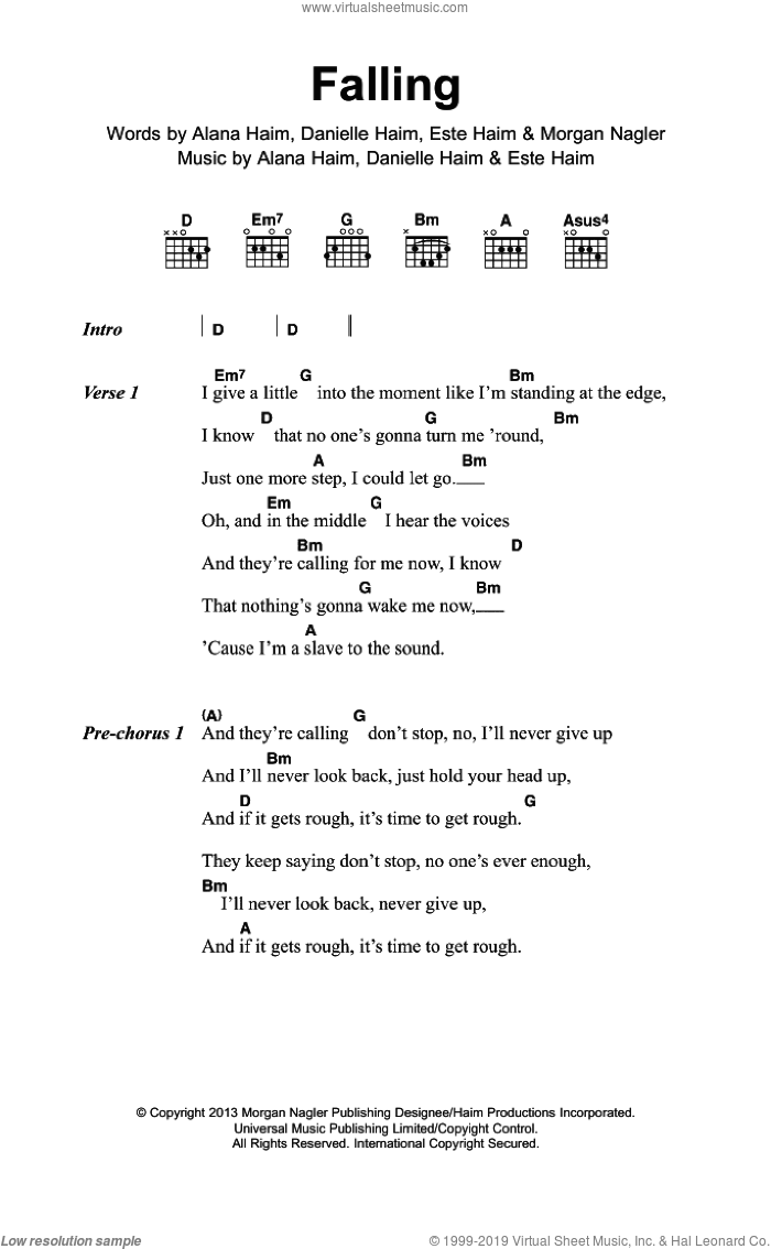 Falling sheet music for guitar (chords) by Haim. Score Image Preview.