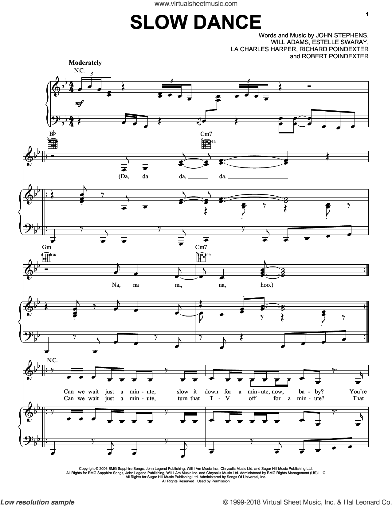 Slow Dance sheet music for voice, piano or guitar by John Legend, Estelle Swaray, John Stephens, Lewis Poindexter and Will Adams, intermediate skill level