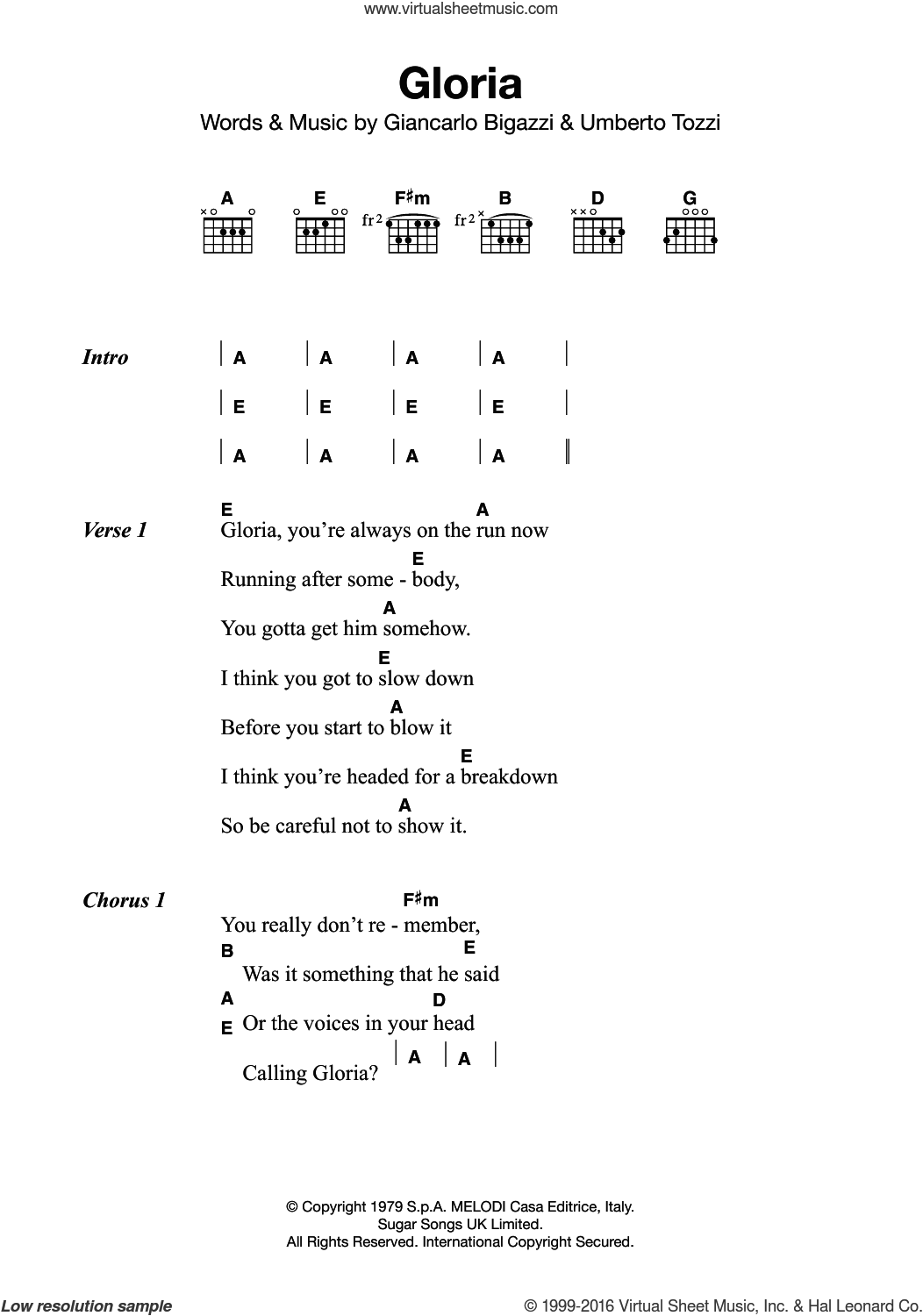 Branigan Gloria Sheet Music For Guitar Chords Pdf
