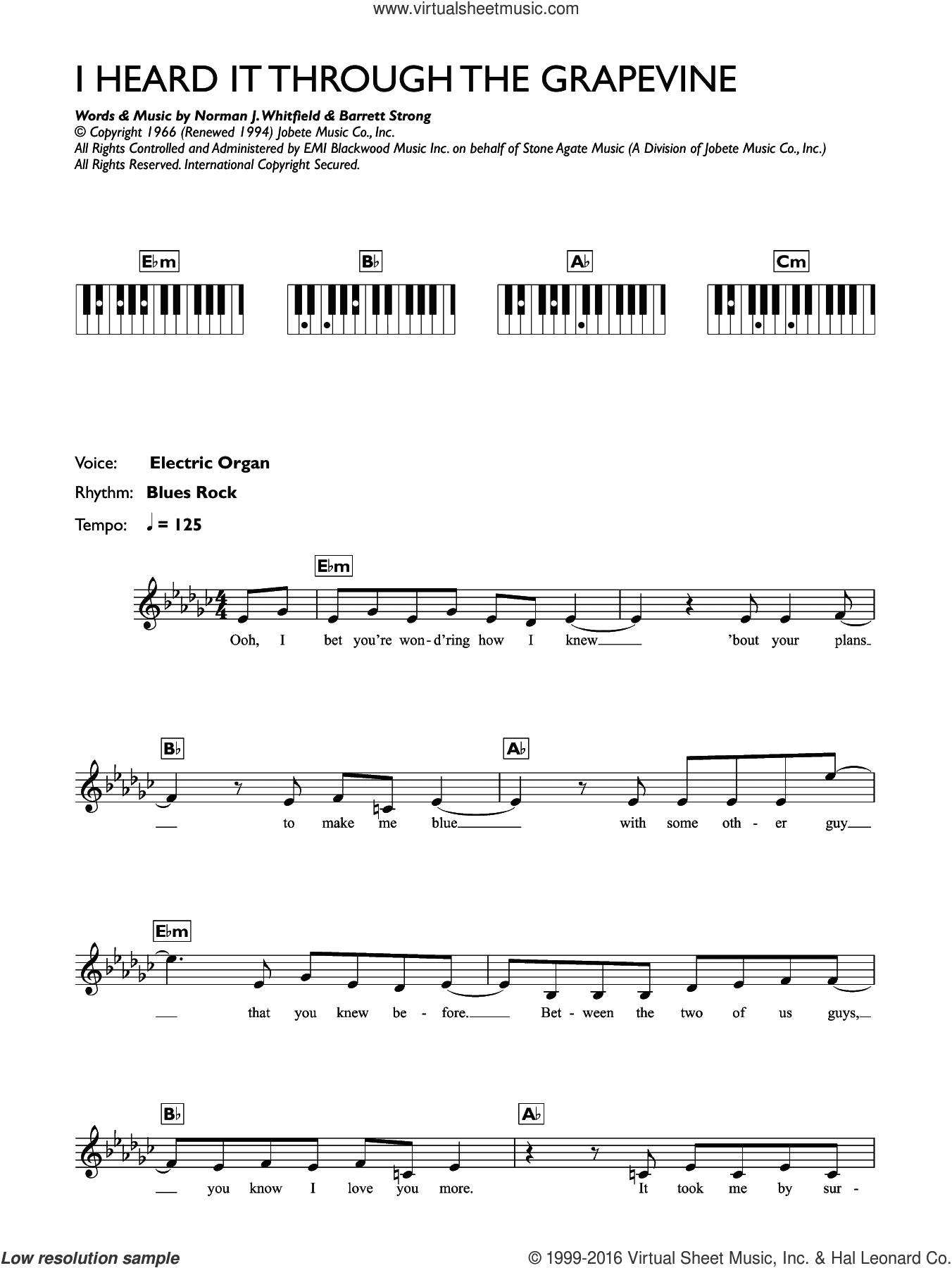 I Heard It Through The Grapevine sheet music for piano solo (chords, lyrics, melody) by Marvin Gaye, Barrett Strong and Norman Whitfield, intermediate piano (chords, lyrics, melody)