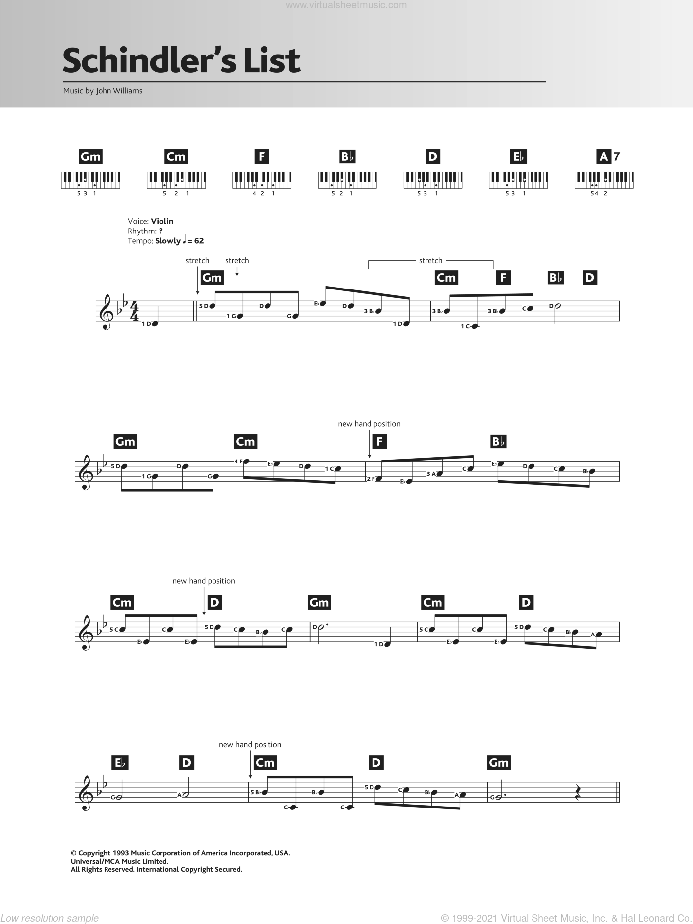 Theme From Schindler's List sheet music for piano solo (chords, lyrics, melody) by John Williams. Score Image Preview.
