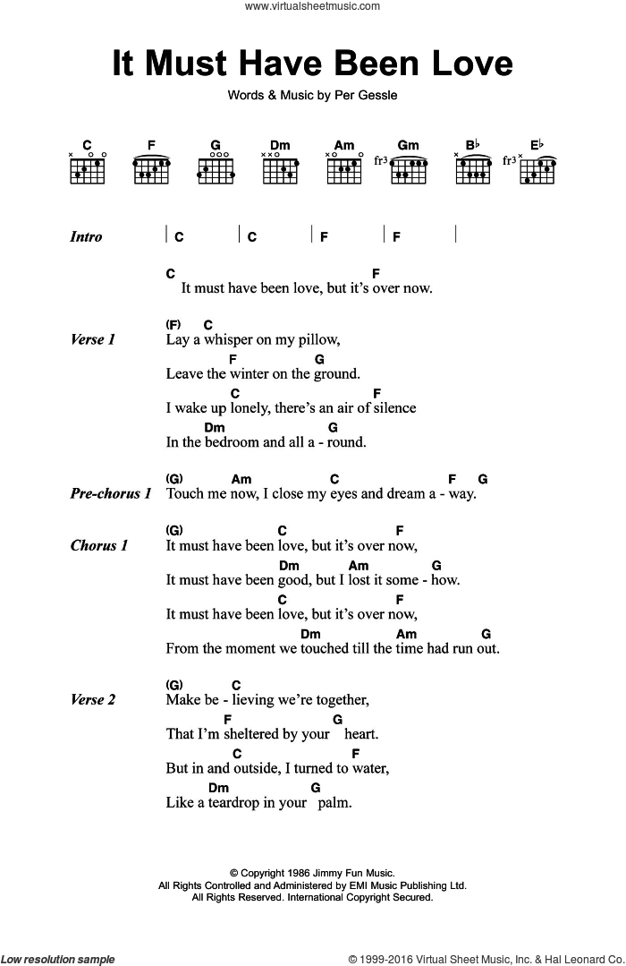 Love Song Lyrics For It Must Have Been Love
