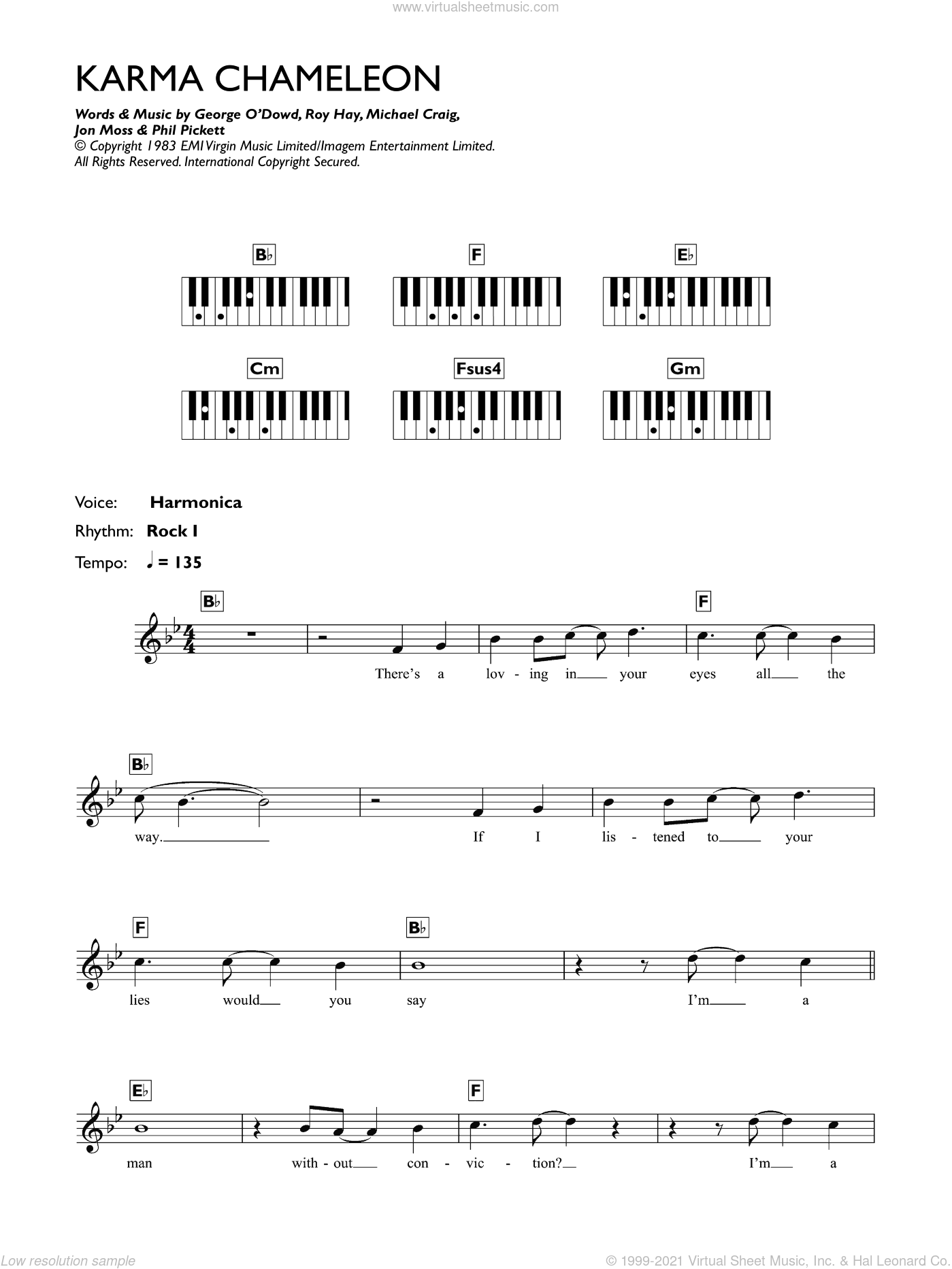 Karma Chameleon sheet music for piano solo (chords, lyrics, melody) by Roy Hay, Culture Club and Michael Craig. Score Image Preview.